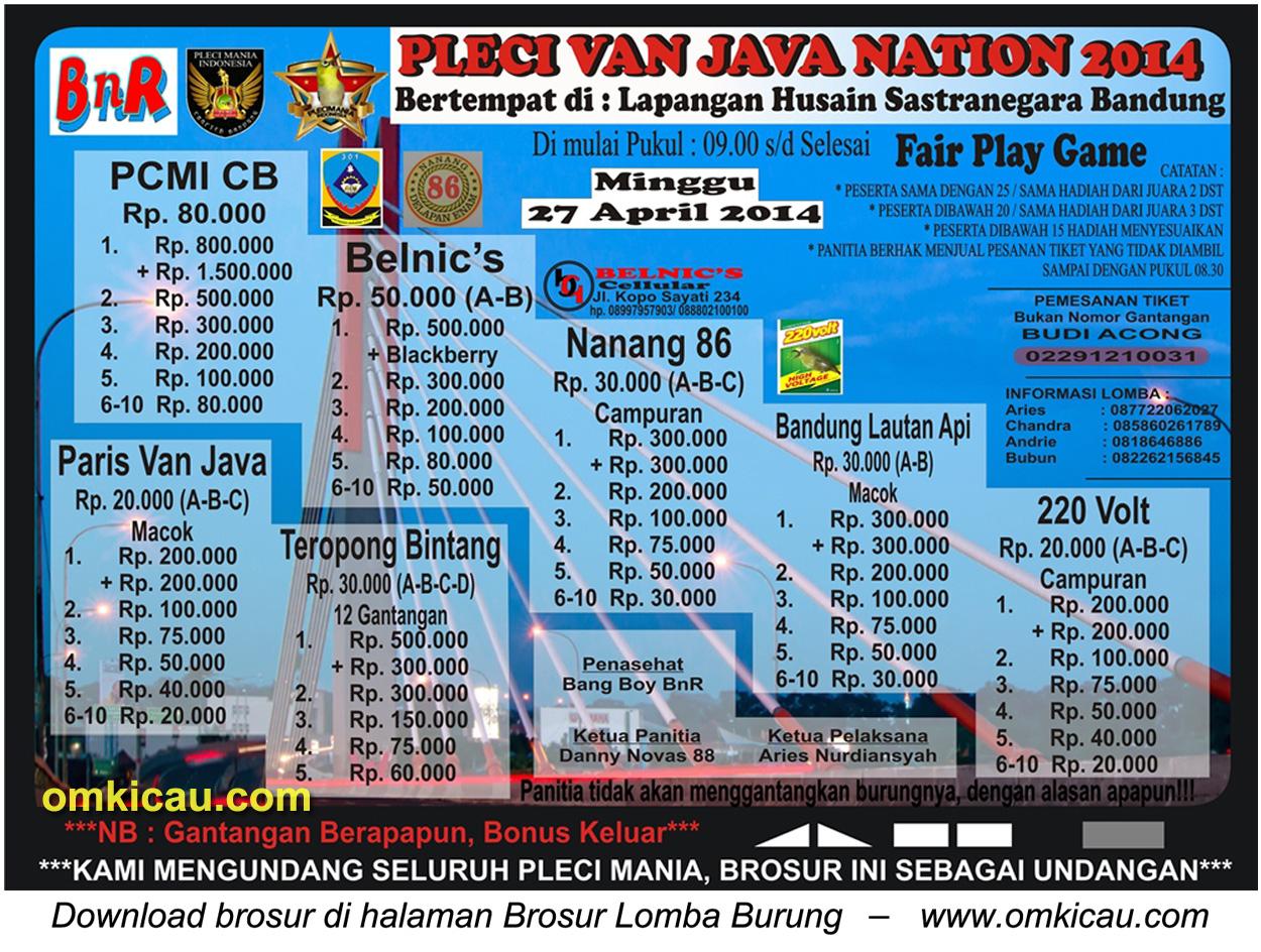 Brosur Lomba Burung Pleci Van Java Nation 2014, Bandung, 27 April 2014