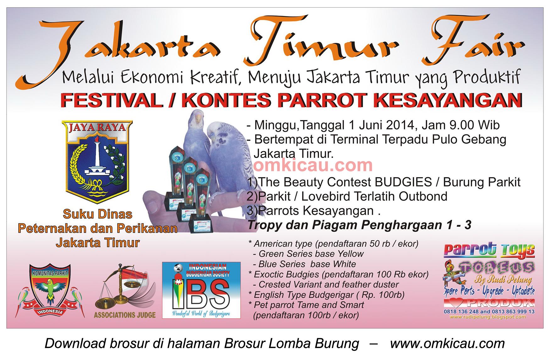 Brosur Kontes Parrot Kesayangan, Jakarta Timur, 1 Juni 2014