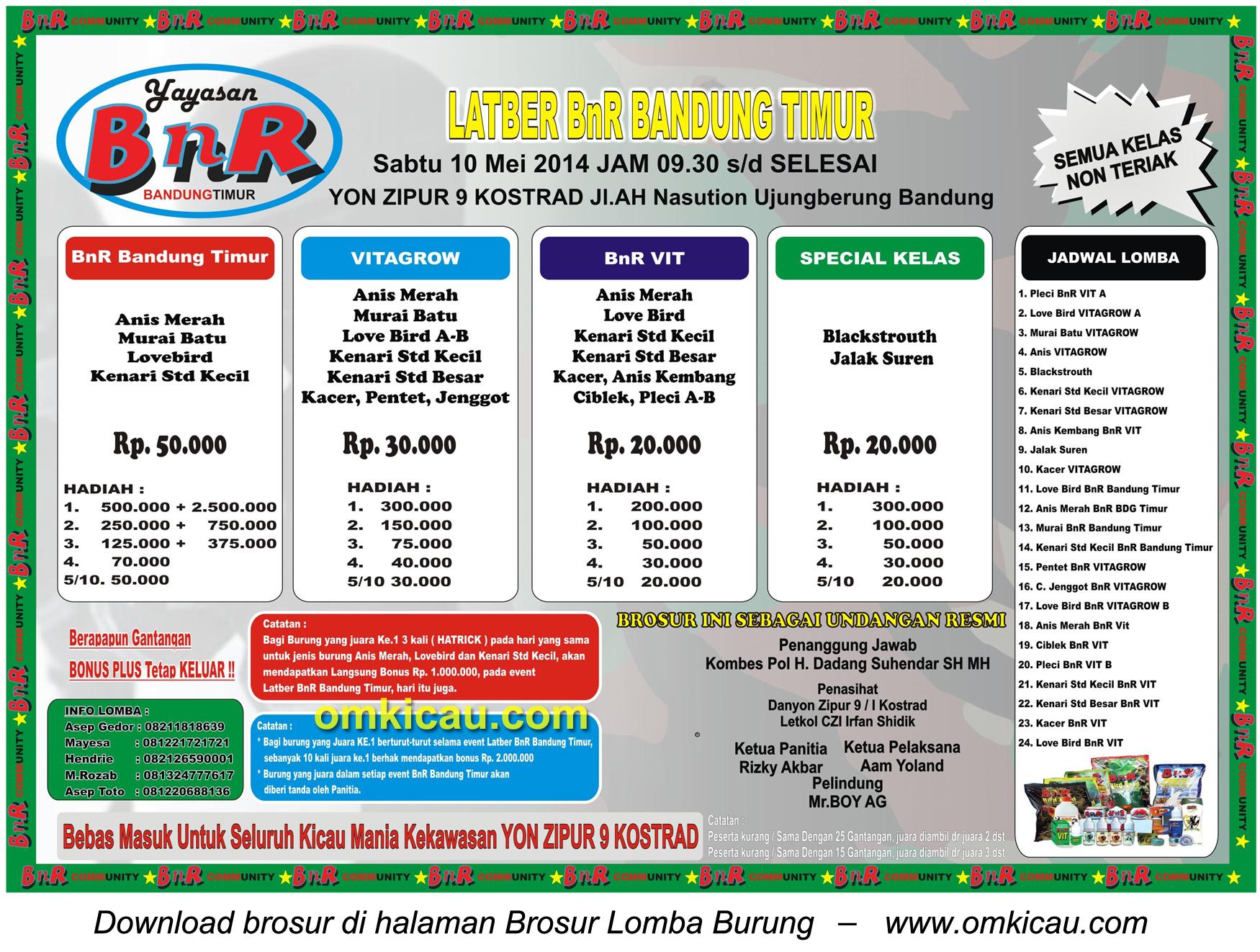 Brosur Latber BnR Bandung Timur, Bandung, 10 Mei 2014