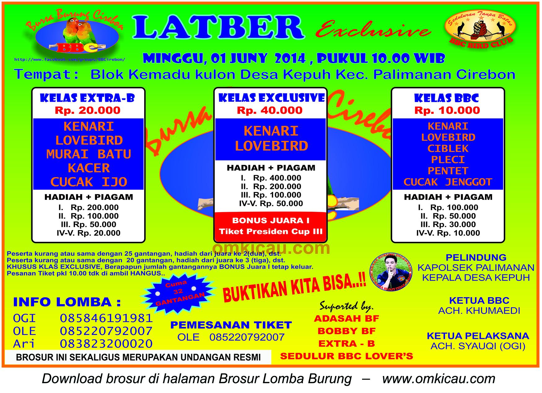 Brosur Latber Exclusive BBC, Cirebon, 1 Juni 2014