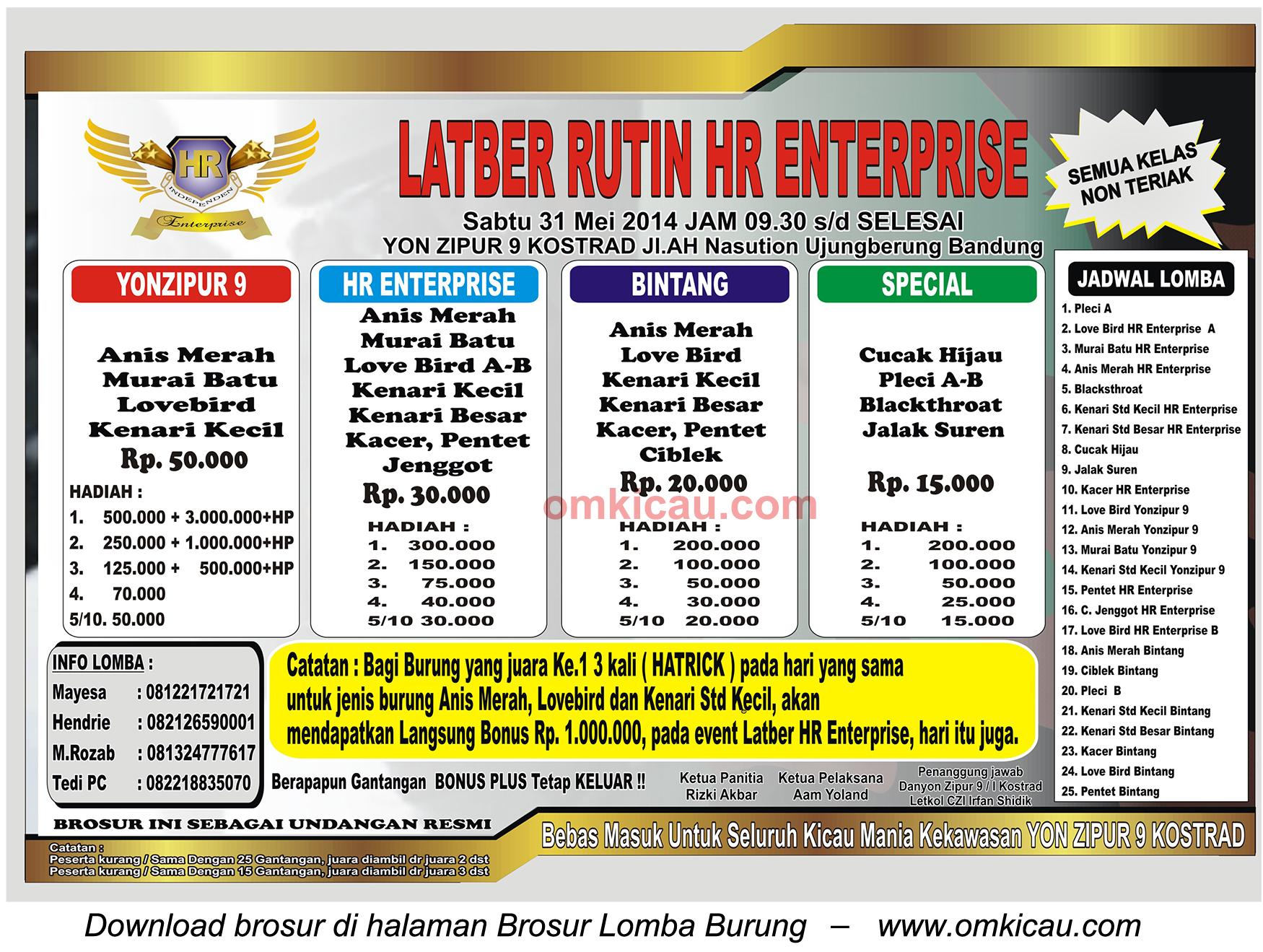 Brosur Latber Rutin HR Enterprise, Bandung, 31 Mei 2014