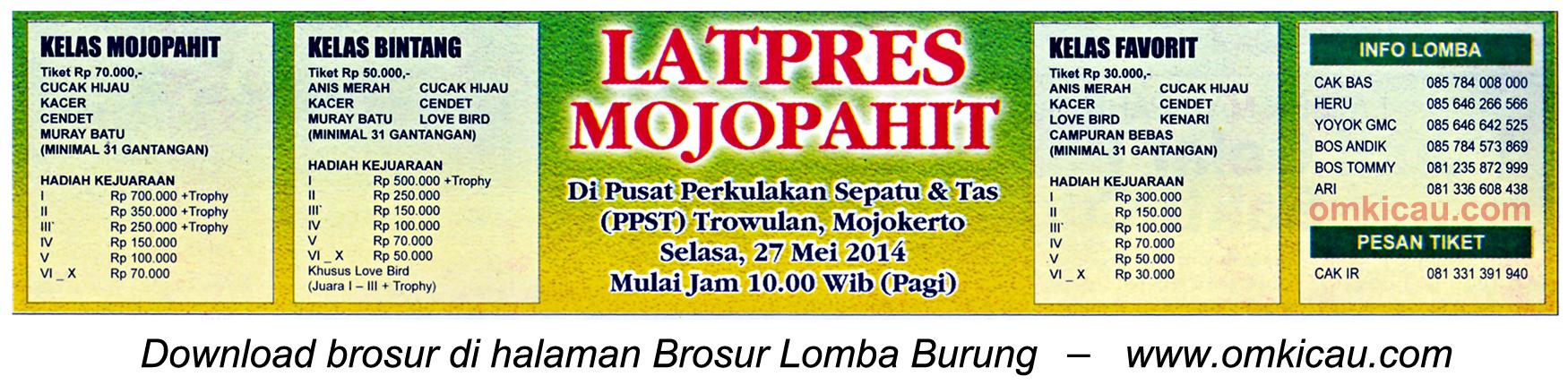 Brosur Latpres Burung Berkicau Mojopahit, Mojokerto, 27 Mei 2014