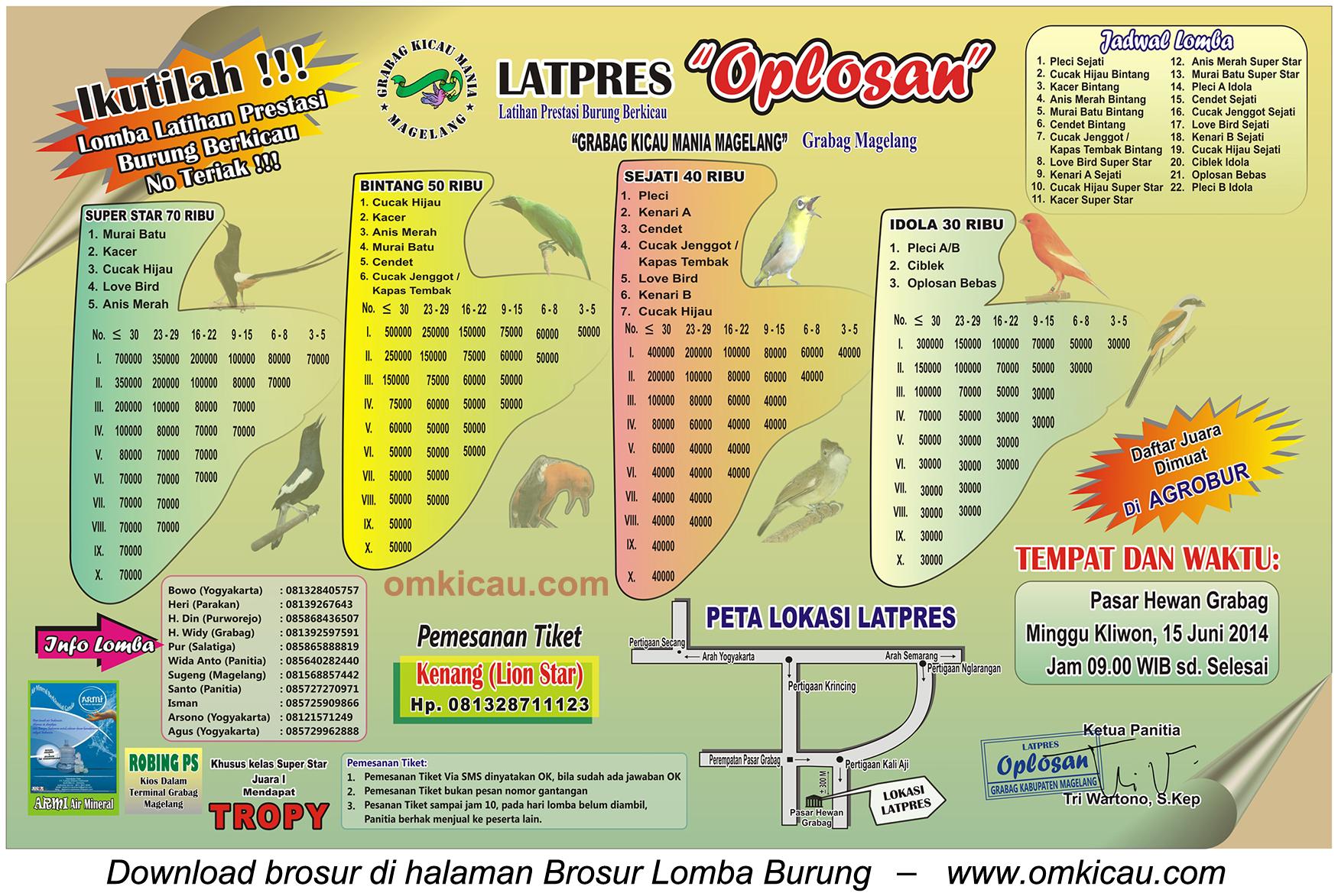 Brosur Latpres Burung Berkicau Oplosan, Magelang, 15 Juni 2014