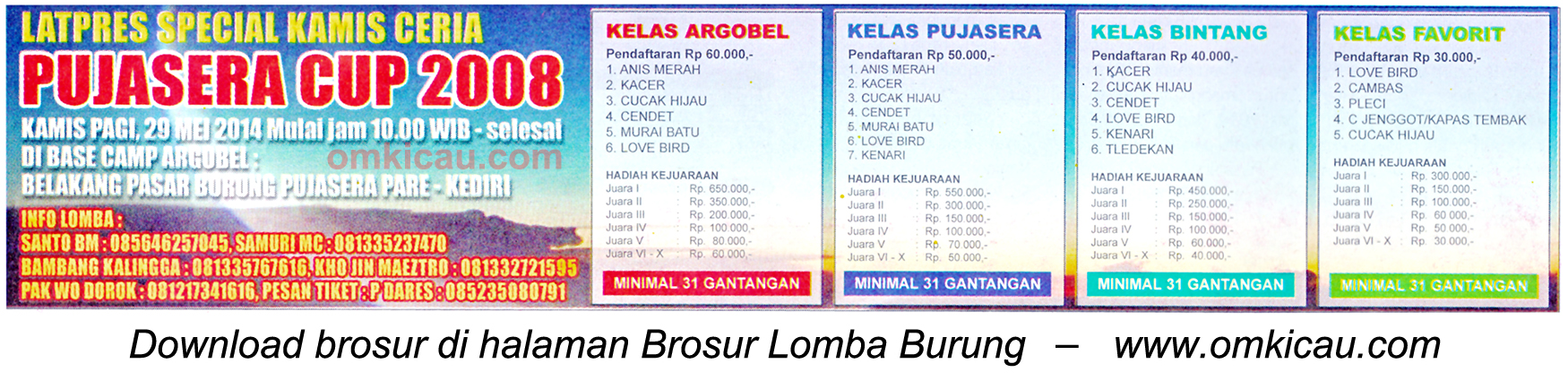 Brosur Latpres Special Kamis Ceria Pujasera Cup, Kediri, 29 Mei 2014