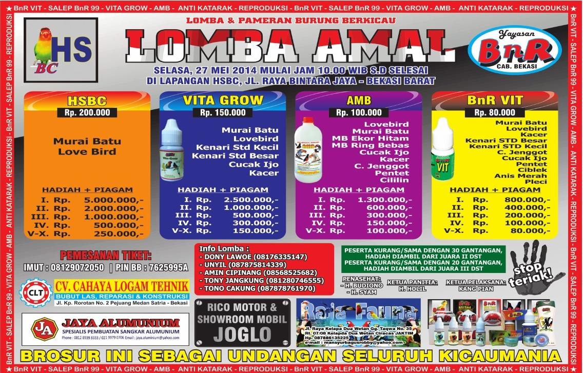 Brosur Lomba Amal Burung Berkicau HSBC-BnR, Bekasi Barat, 27 Mei 2014