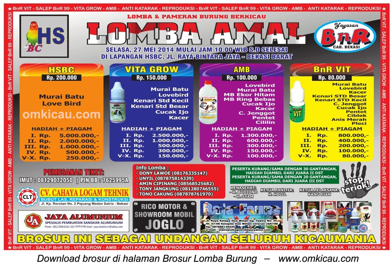 Brosur Lomba Amal Burung Berkicau HSBC-BnR - Bekasi Barat, 27 Mei 2014