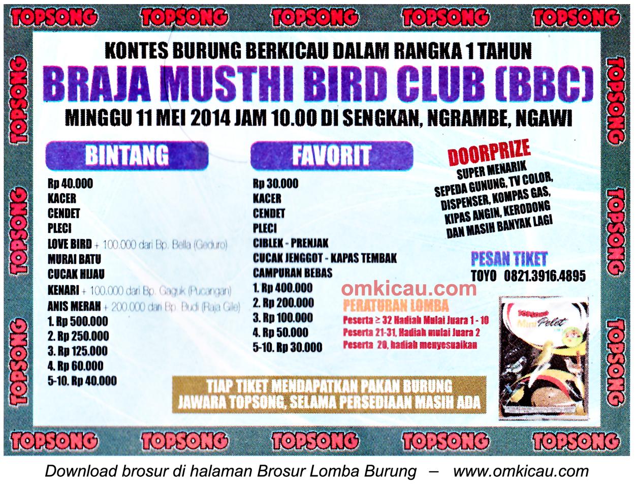 Brosur Lomba Burung Berkicau 1 Tahun Braja Musthi BC, Ngawi, 11 Mei 2014