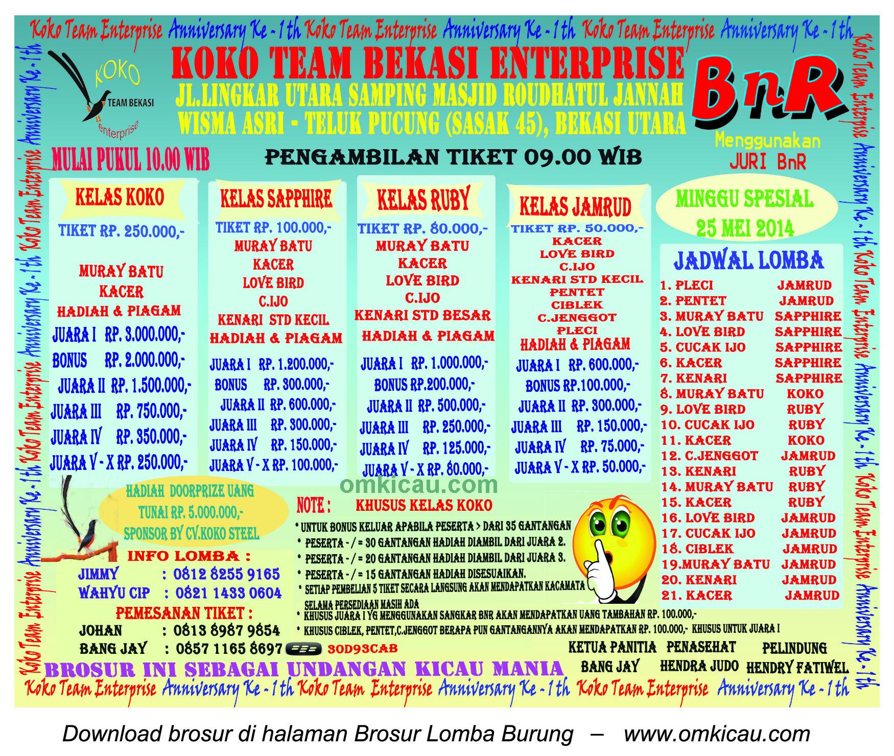 Brosur Lomba Burung Berkicau 1st Anniversary Koko Team Enterprise - Bekasi, 25 Mei 2014