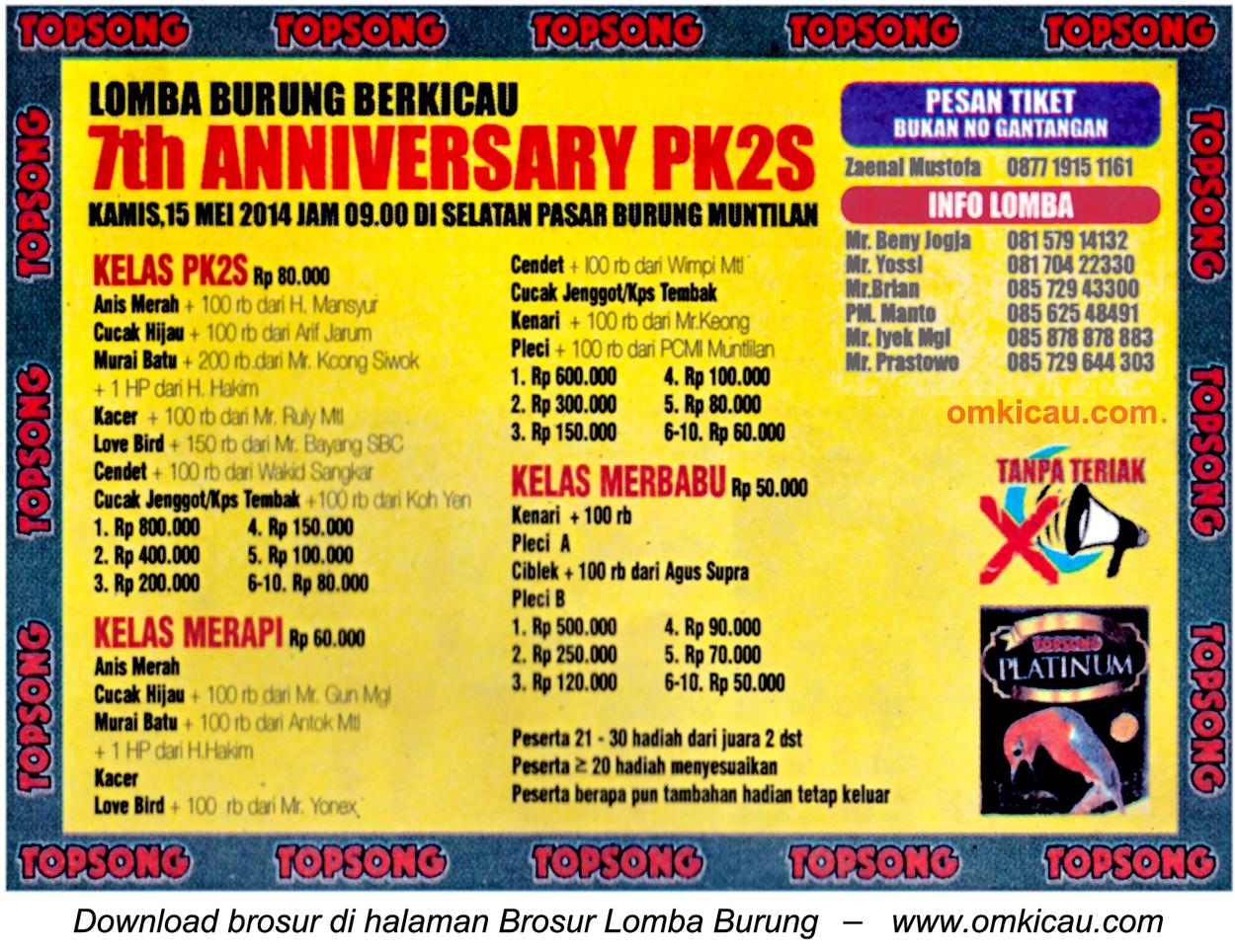 Brosur Lomba Burung Berkicau 7th Anniversary PK2S, Muntilan, 15 Mei 2014