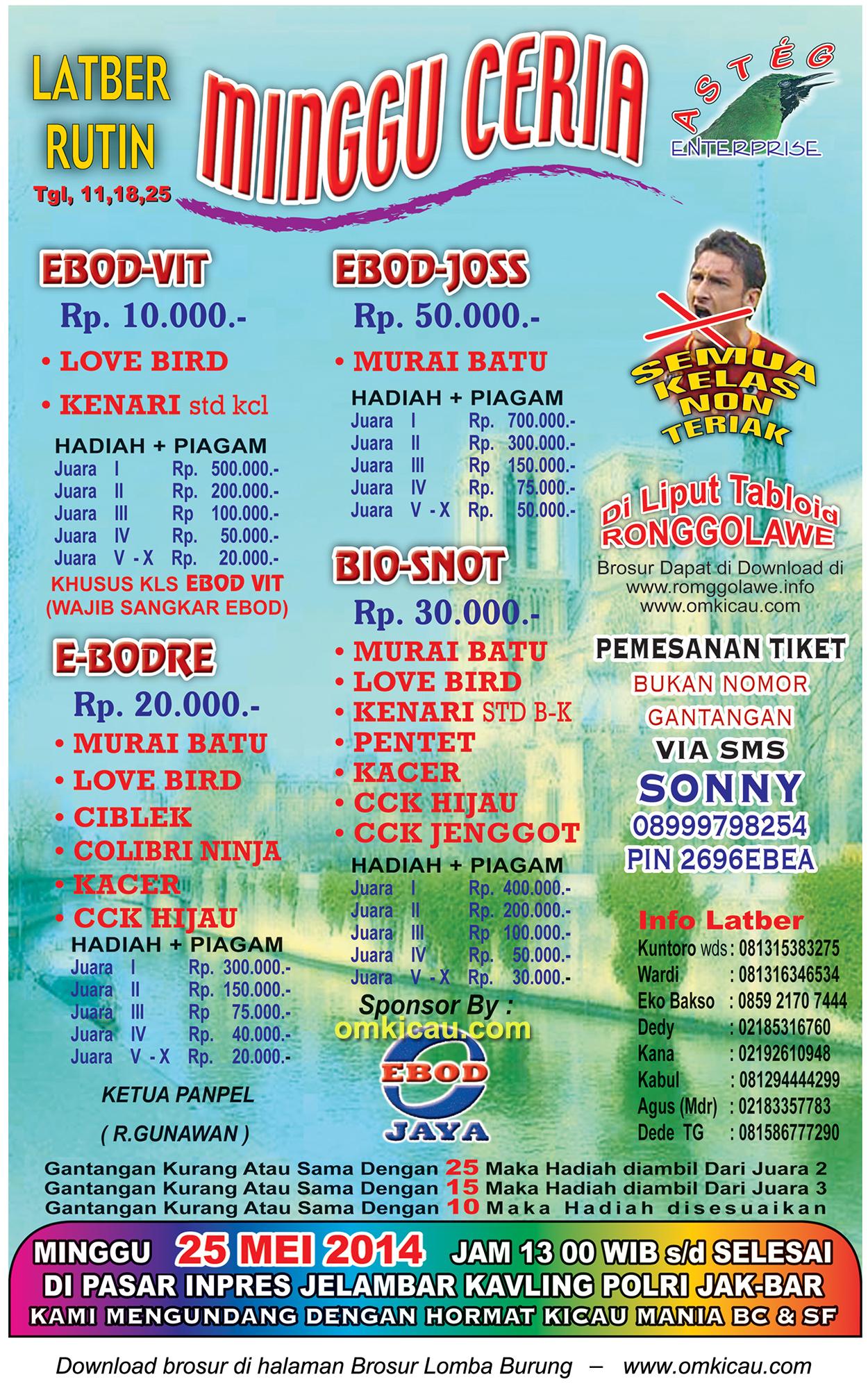 Brosur Lomba Burung Berkicau Asteg Minggu Ceria, Jakarta Barat, 25 Mei 2014