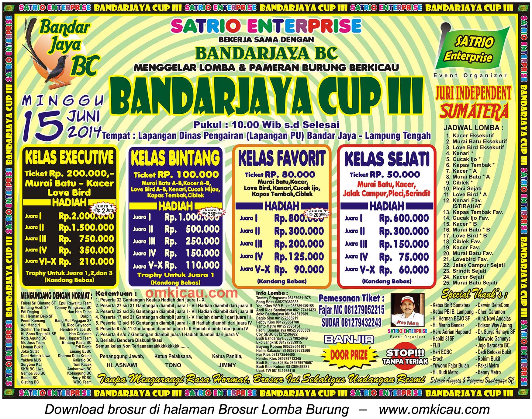 Brosur Lomba Burung Berkicau Bandarjaya Cup III, Lampung Tengah, 15 Juni 2014