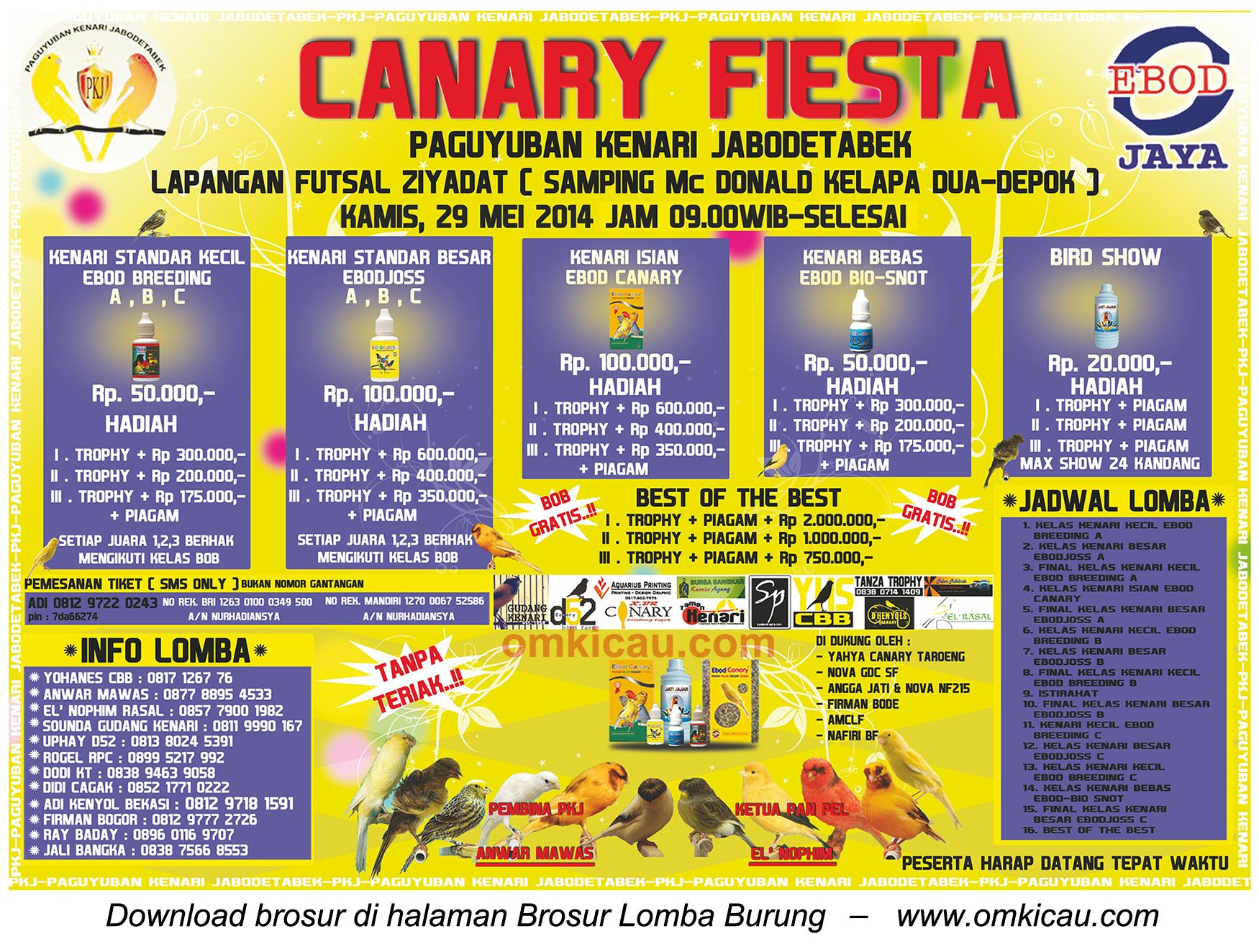 Brosur Lomba Burung Berkicau Canary Fiesta, Depok, 29 Mei 2014