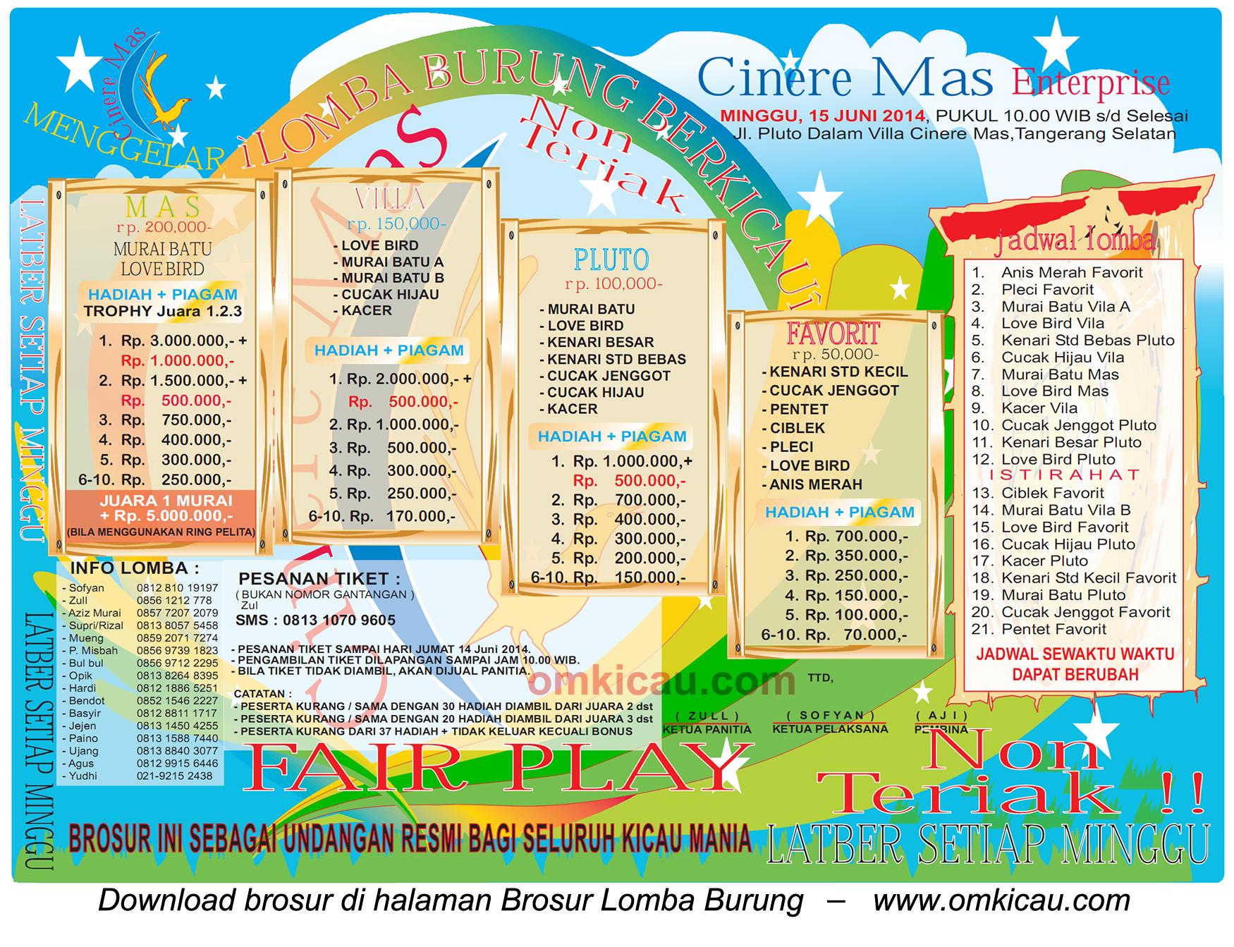Brosur Lomba Burung Berkicau Cinere Mas Enterprise, Tangerang Selatan, 15 Juni 2014