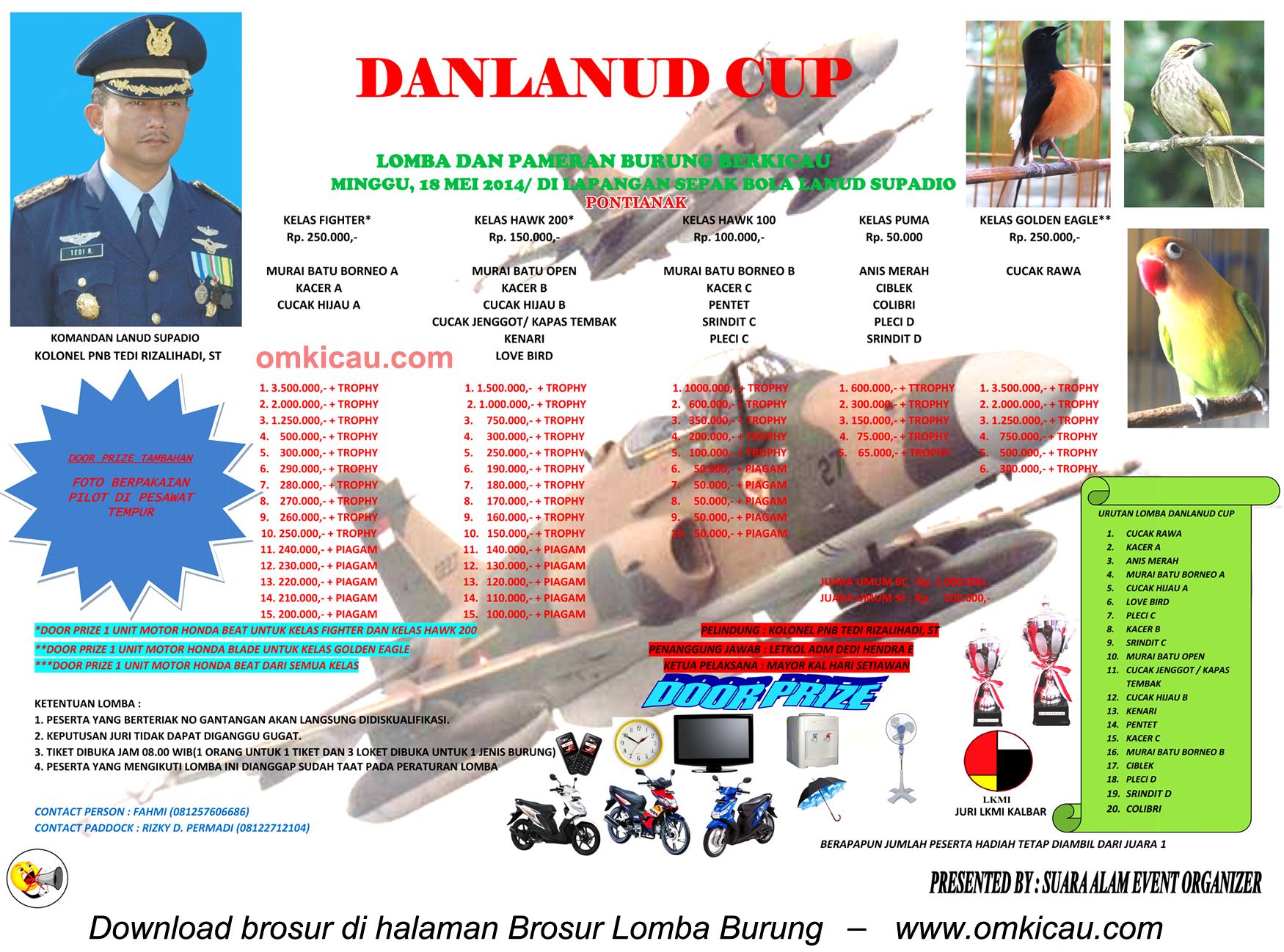 Brosur Lomba Burung Berkicau Danlanud Cup, Pontianak, 18 Mei 2014