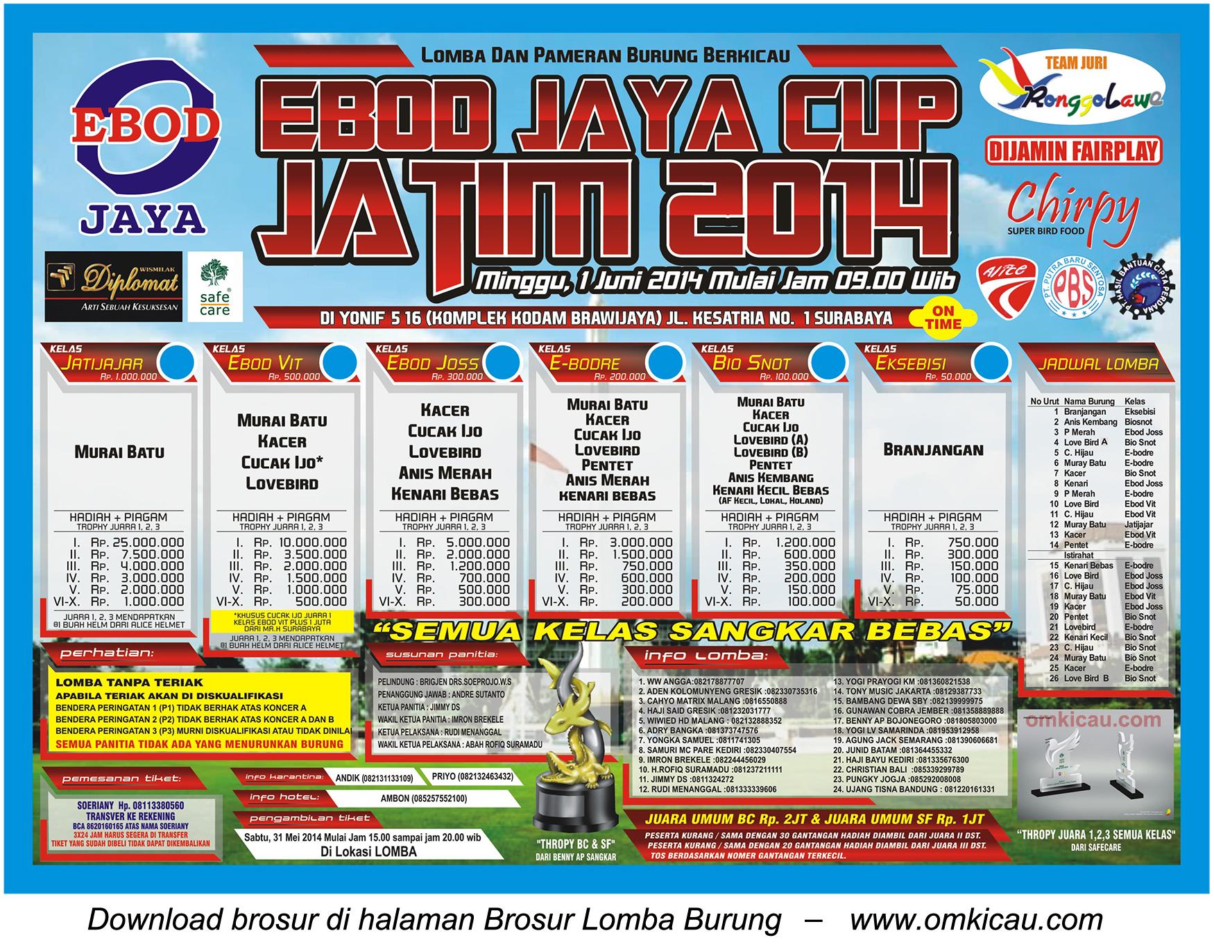 Brosur Ebod Jaya Cup 2014, Surabaya, 1 Juni 2014
