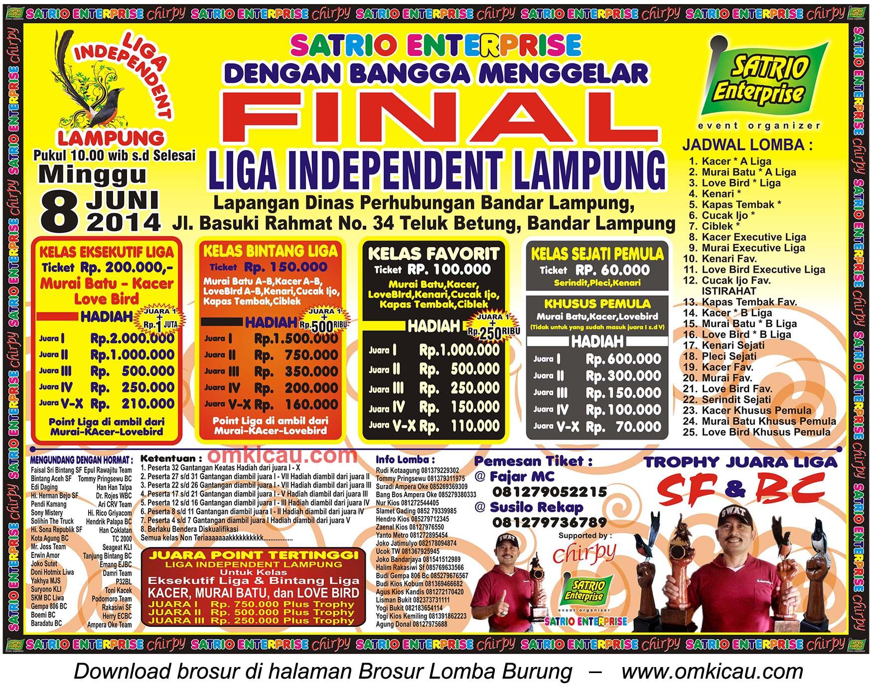 Brosur Lomba Burung Berkicau Final Liga Independent Lampung, Bandar Lampung, 8 Juni 2014
