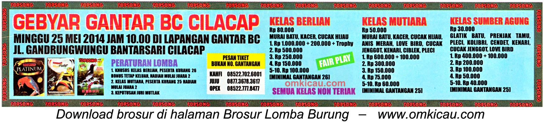 Brosur Lomba Burung Berkicau Gebyar Gantar BC, Cilacap, 25 Mei 2014