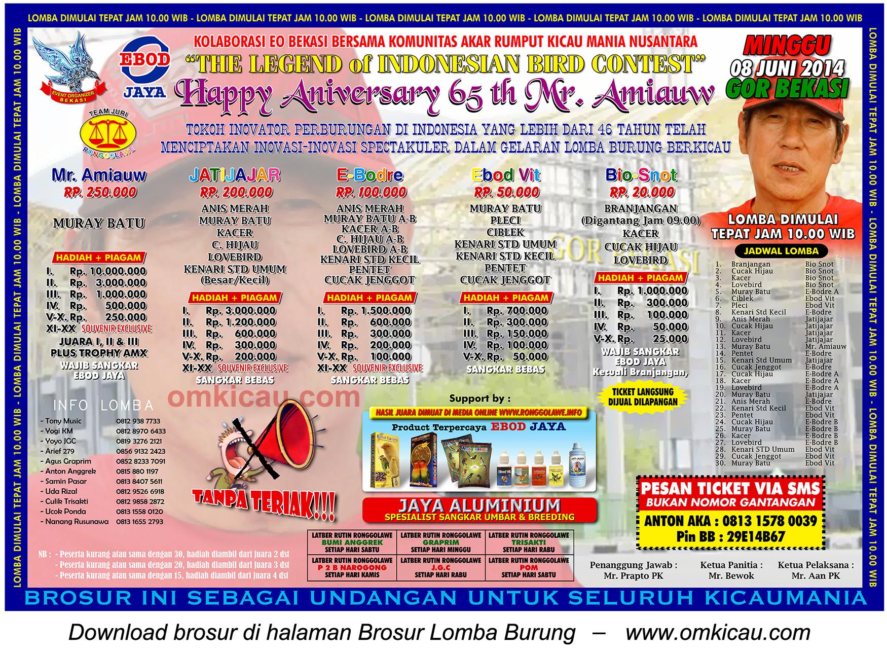 Brosur Lomba Burung Berkicau Happy Anniversary 65 th Mr Amiauw, Bekasi, 8 Juni 2014