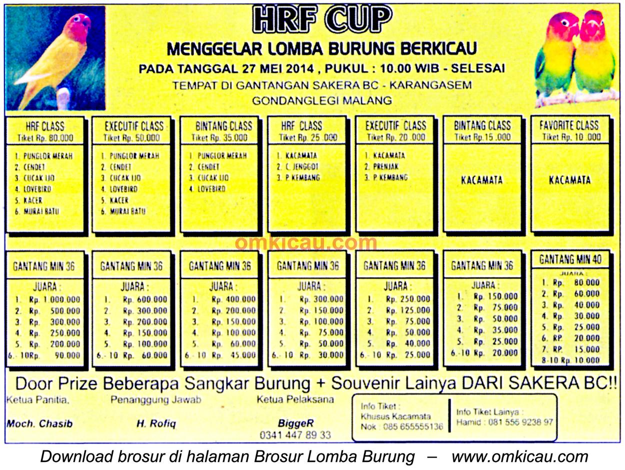 Brosur Lomba Burung Berkicau HRF Cup, Malang, 27 Mei 2014