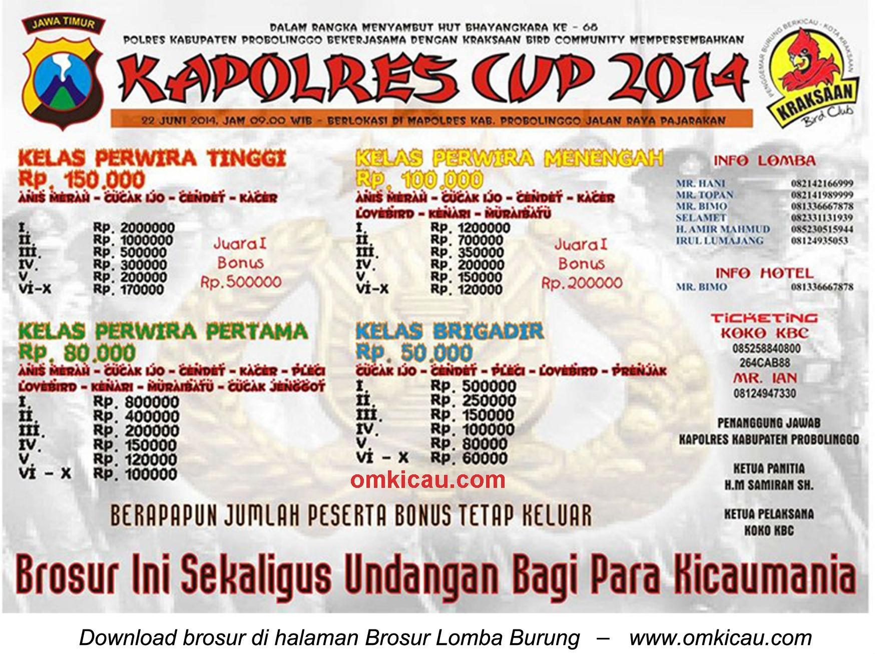Brosur Lomba Burung Berkicau Kapolres Cup, Probolinggo, 22 Juni 2014