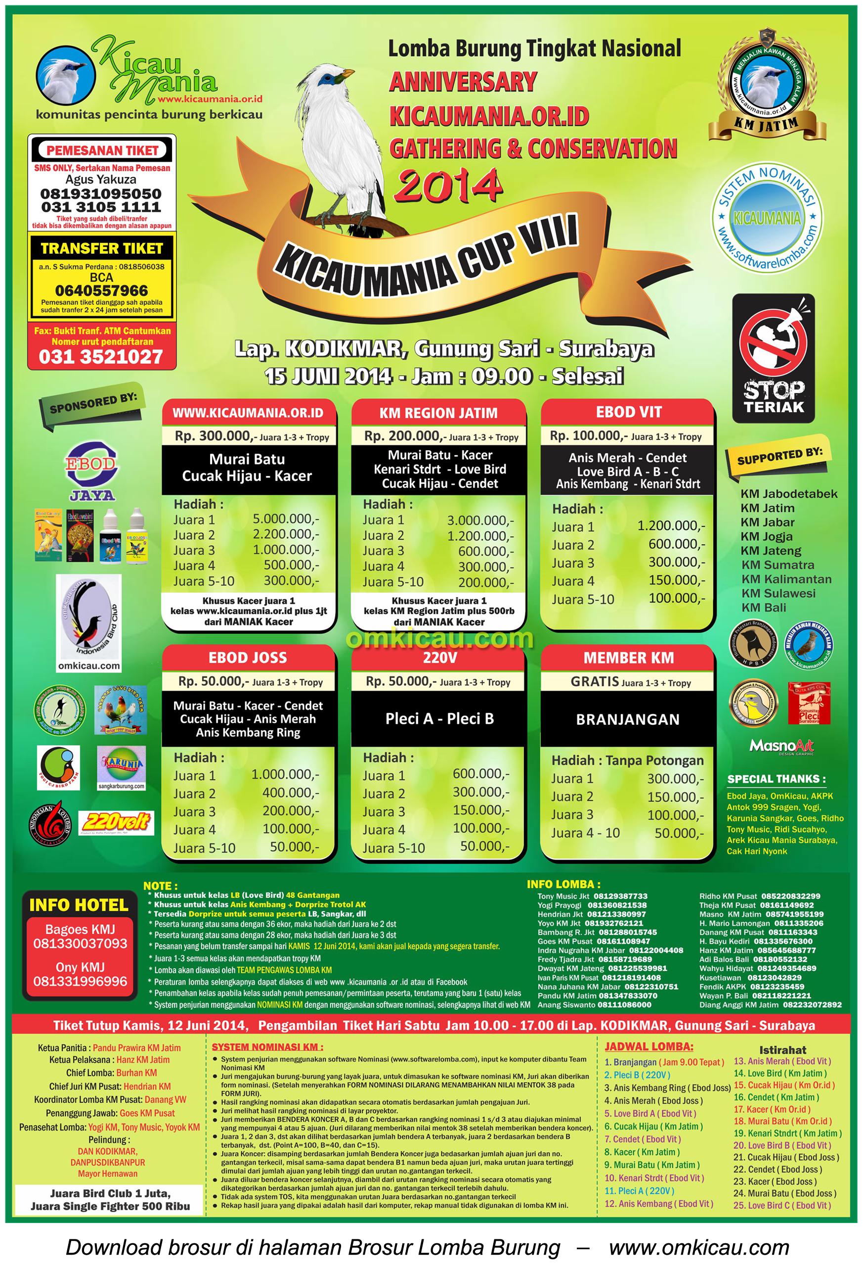 Brosur Lomba Burung Berkicau Kicaumania Cup VIII, Surabaya -15 Juni 2014.