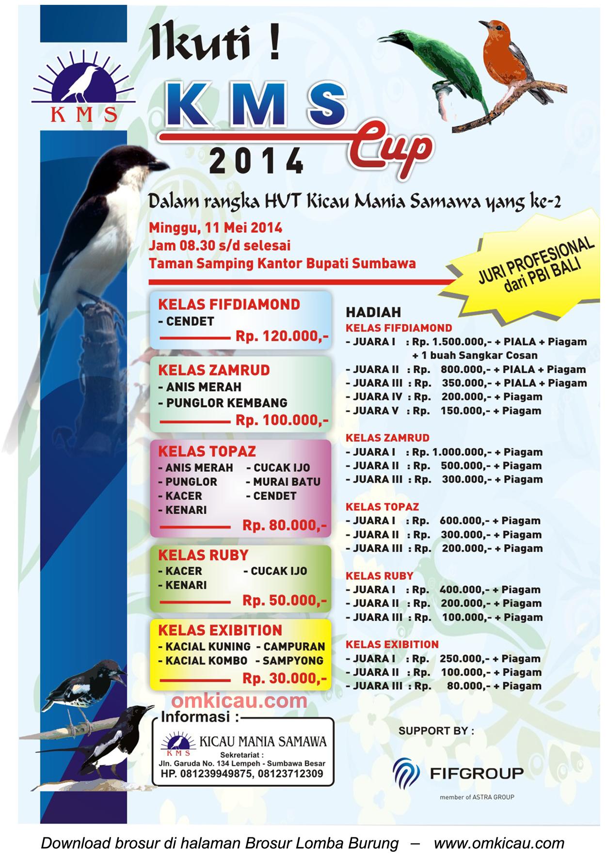 Brosur Lomba Burung Berkicau KMS Cup, Sumbawa, 11 Mei 2014
