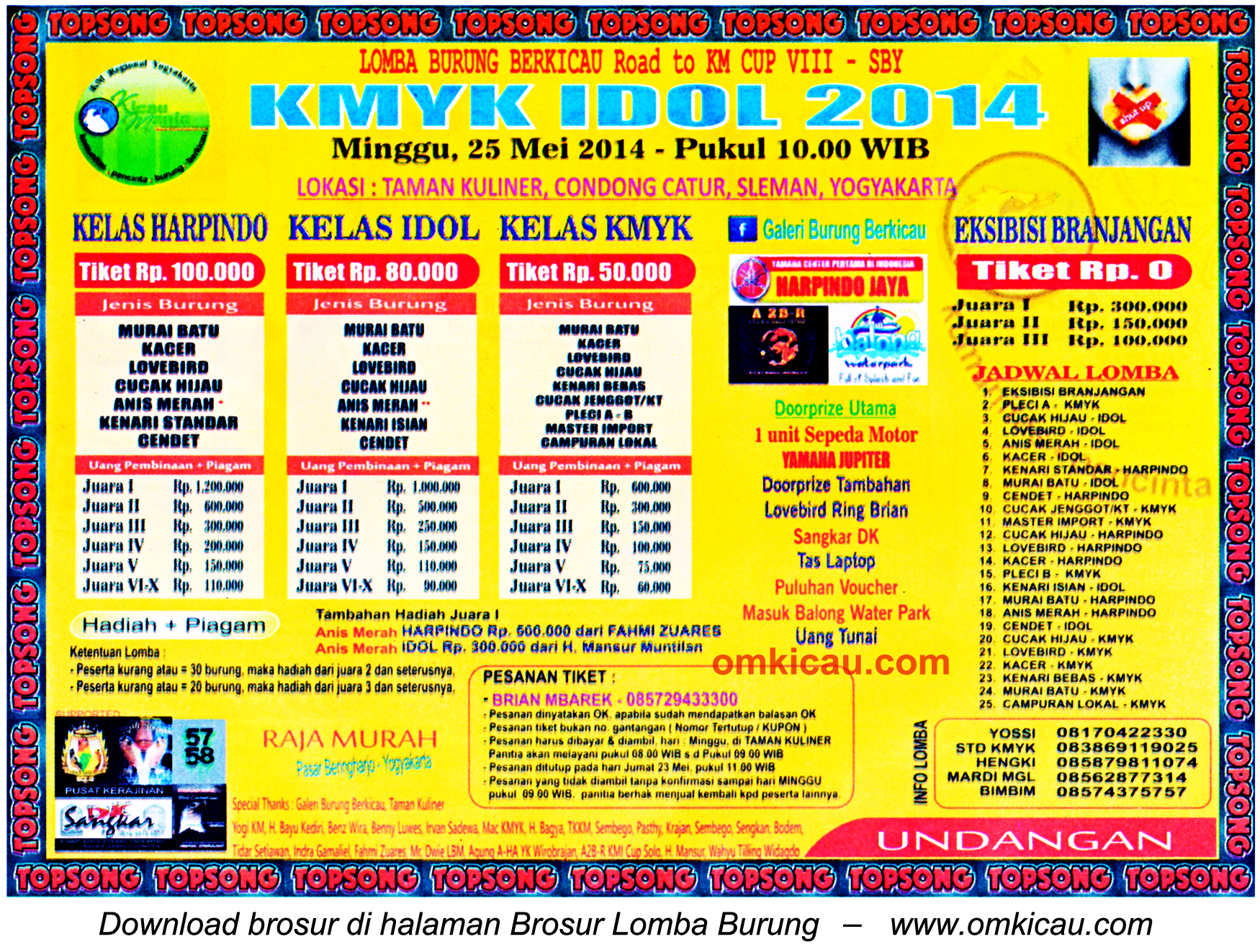 Brosur Lomba Burung Berkicau KMYK Idol 2014, Jogja, 25 Mei 2014