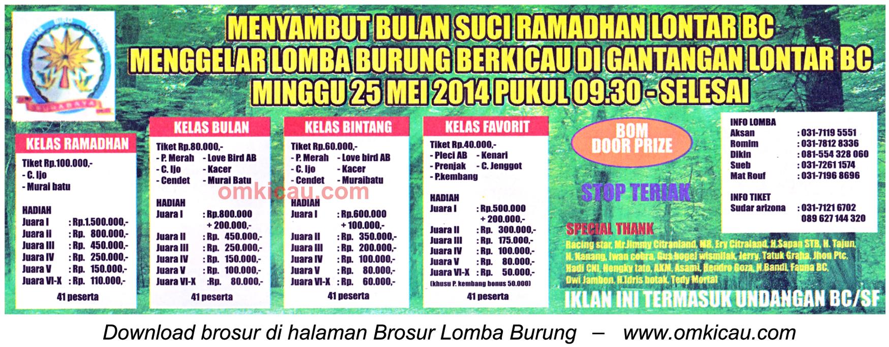 Brosur Lomba Burung Berkicau Lontar BC, Surabaya, 25 Mei 2014