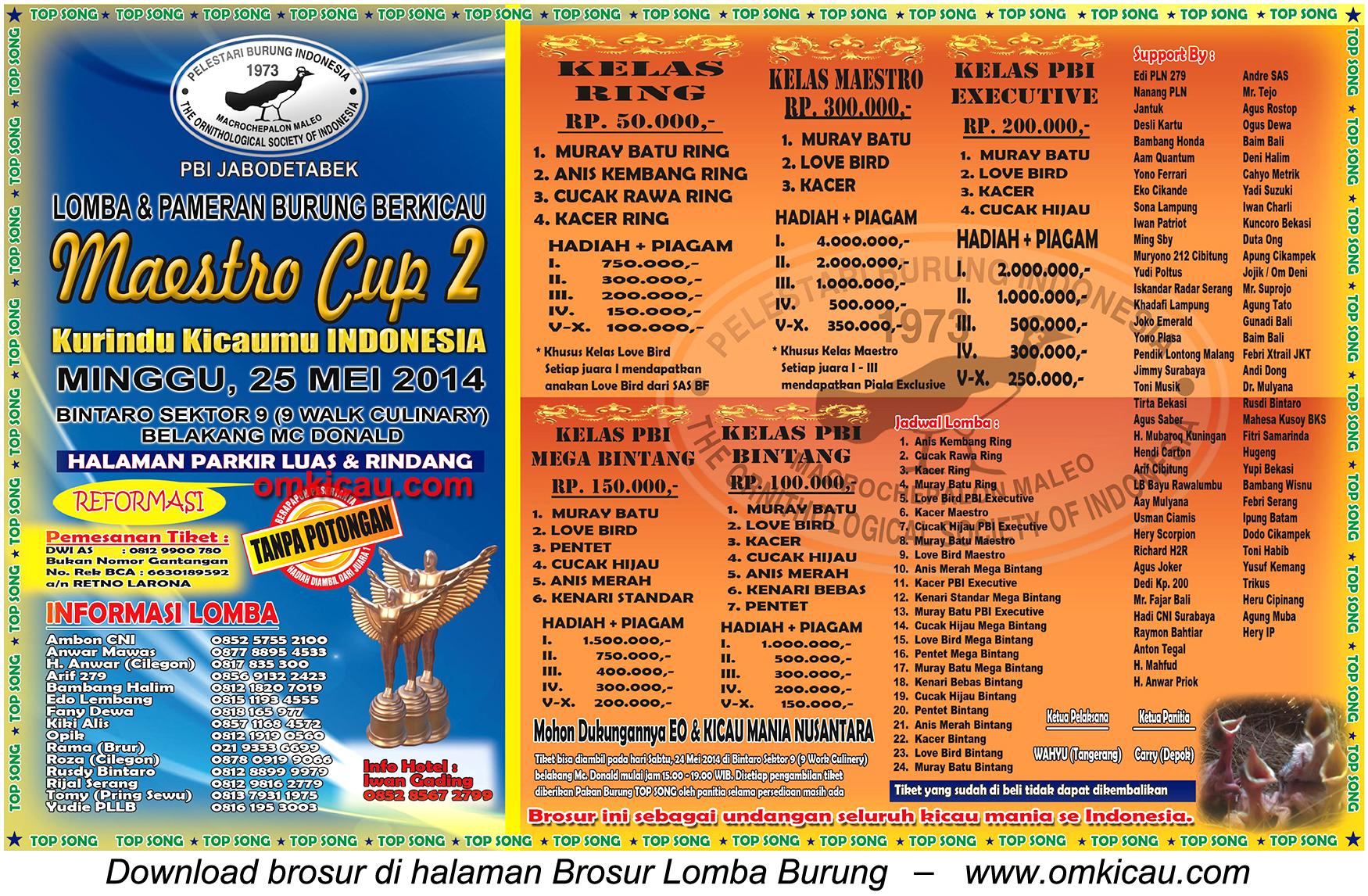 Brosur Lomba Burung Berkicau Maestro Cup 2 - Tangerang Selatan, 25 Mei 2014