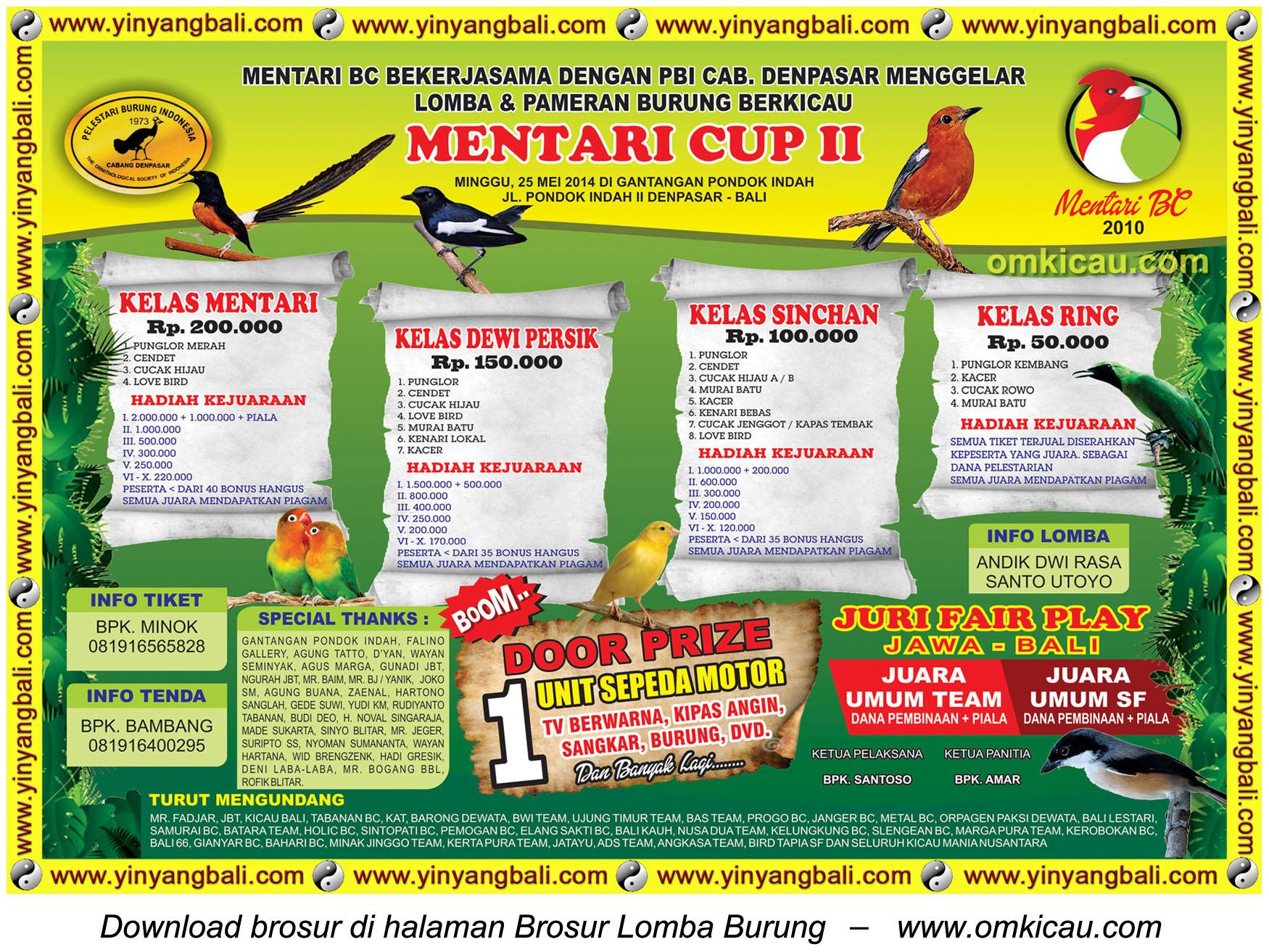 Brosur Lomba Burung Berkicau Mentari Cup II, Denpasar, 25 Mei 2014