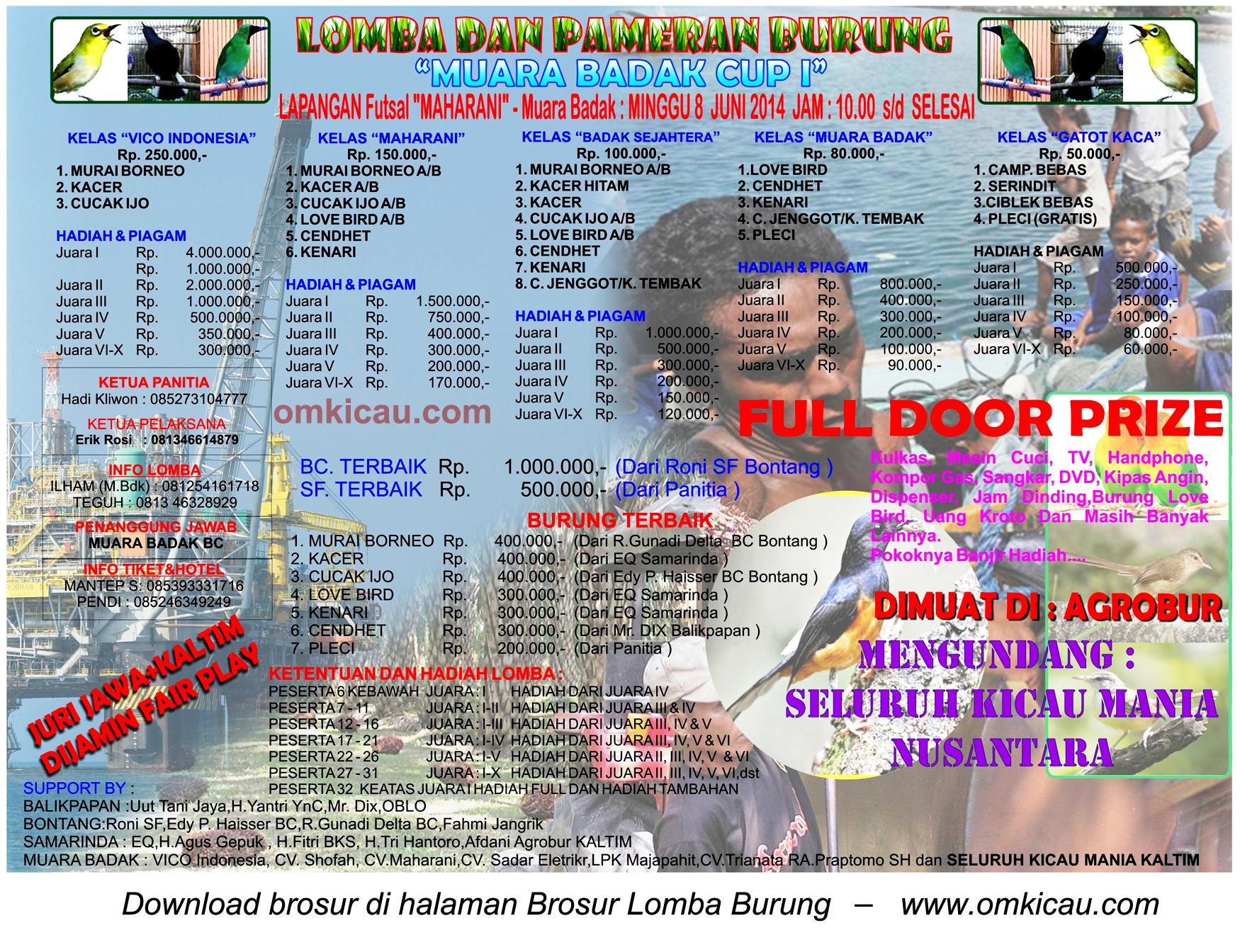 Brosur Lomba Burung Berkicau Muara Badak Cup I, Kutai Kartanegara, 8 Juni 2014
