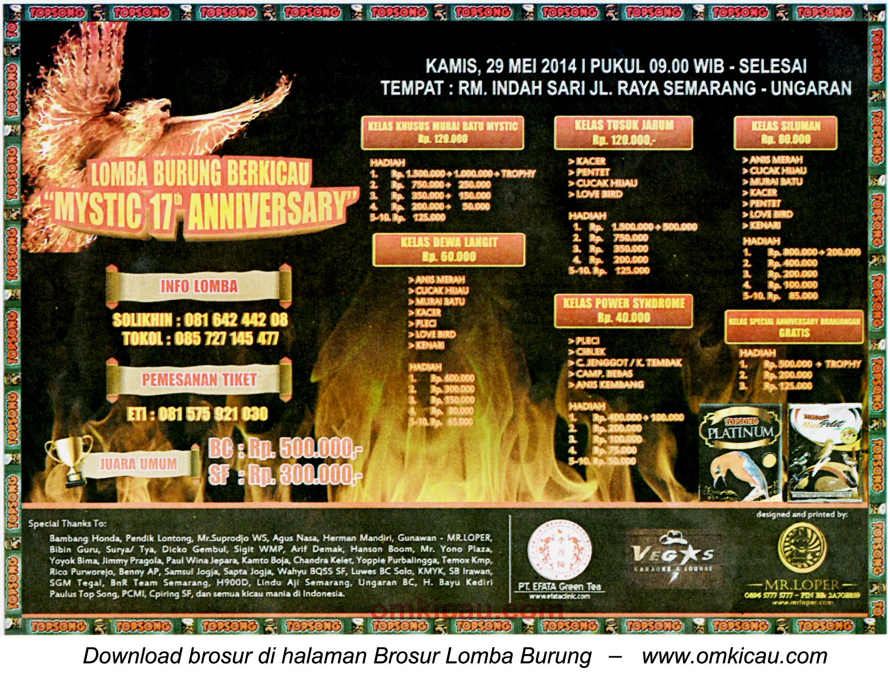 Brosur Lomba Burung Berkicau Mystiz 17th Anniversary, Ungaran, 29 Mei 2014