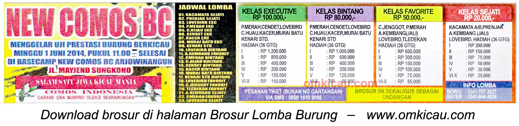 Brosur Lomba Burung Berkicau New Comos BC, Malang, 1 Juni 2014