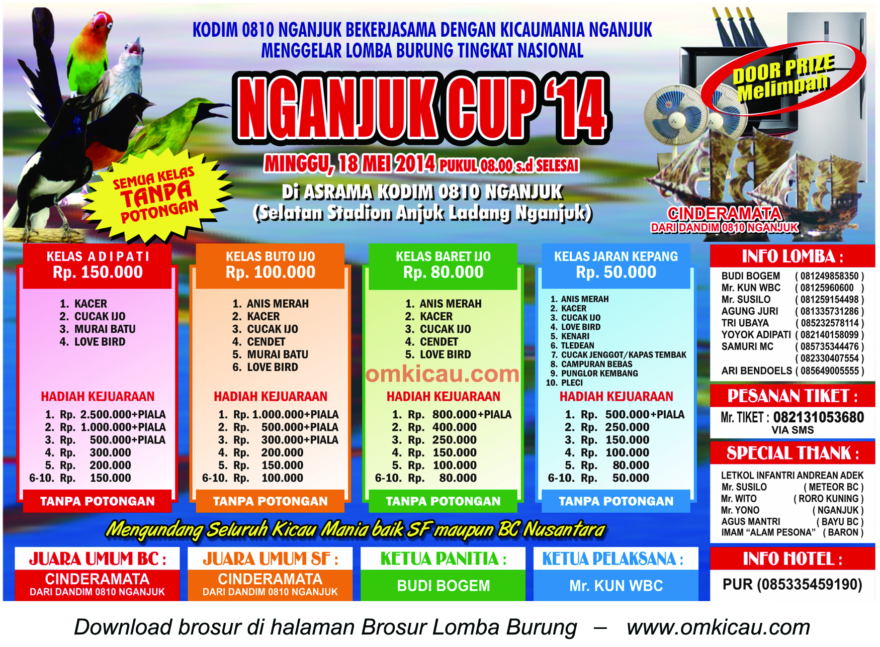Brosur Lomba Burung Berkicau Nganjuk Cup, Nganjuk, 18 Mei 2014