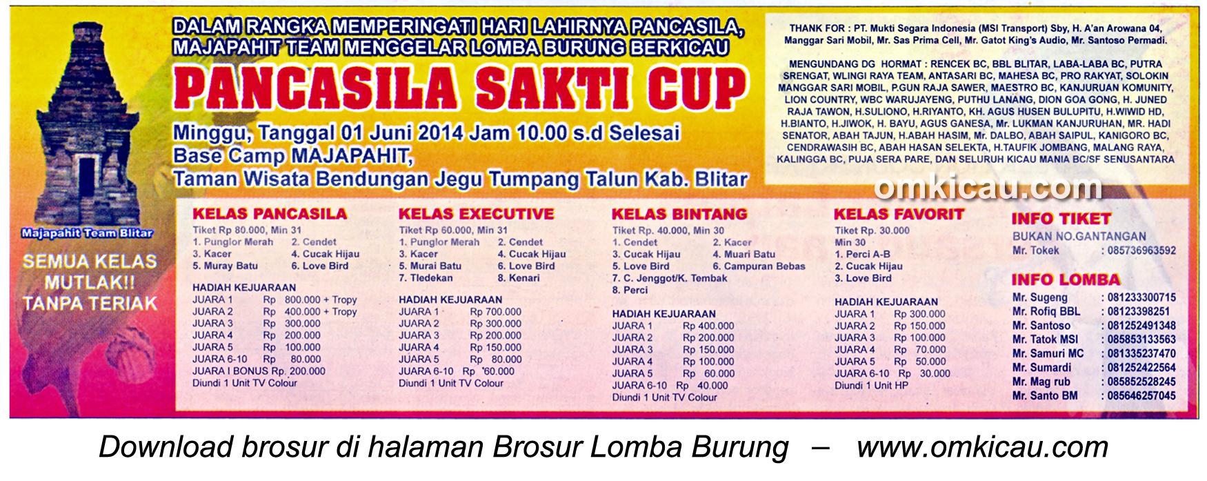 Brosur Lomba Burung Berkicau Pancasila Sakti Cup, Kab Blitar, 1 Juni 2014