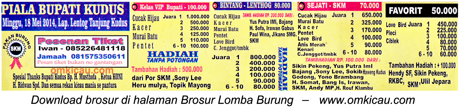 Brosur Lomba Burung Berkicau Piala Bupati Kudus, 18 Mei 2014