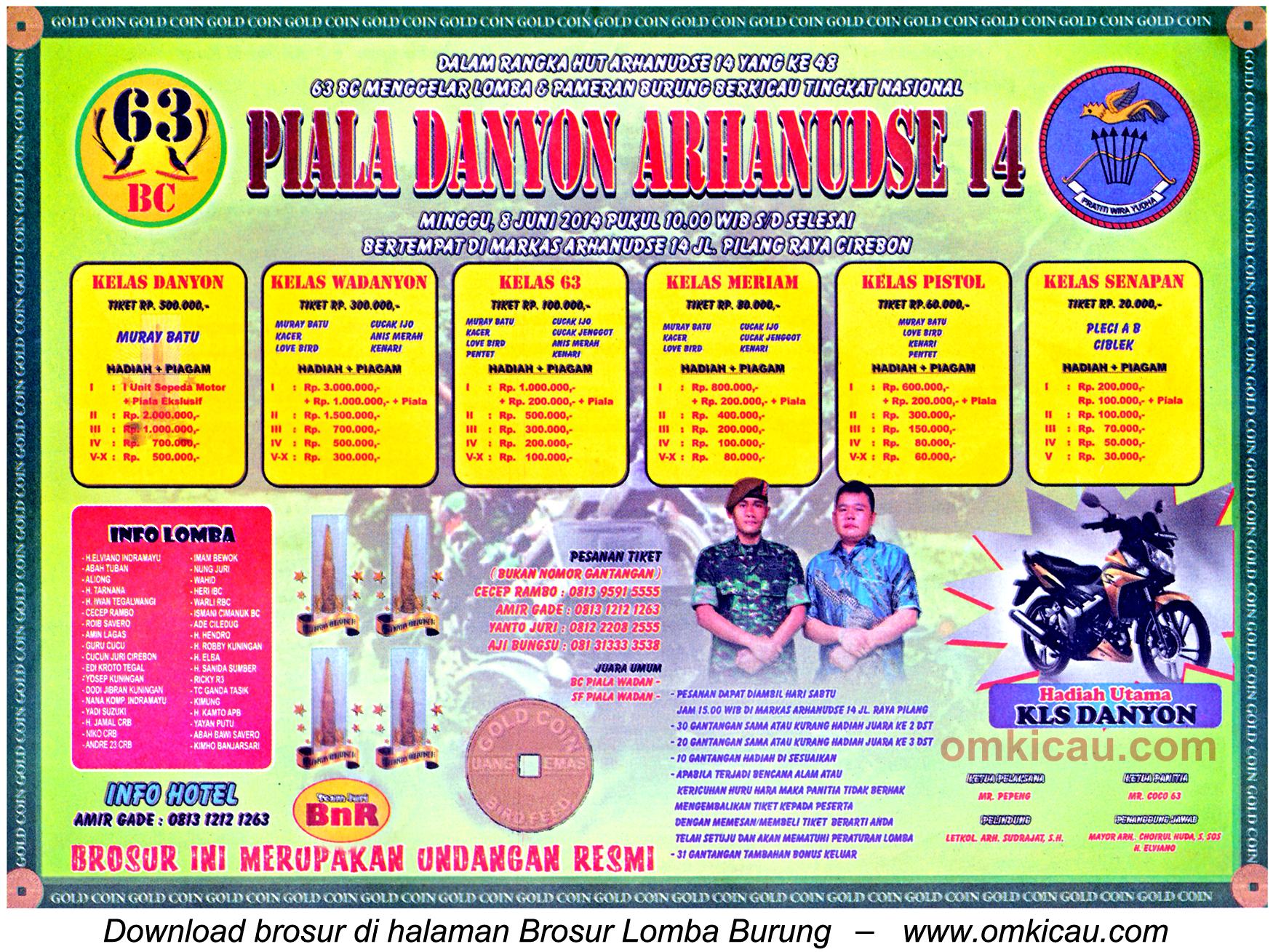 Brosur Lomba Burung Berkicau Piala Danyon Arhanudse 14, Cirebon, 8 Juni 2014