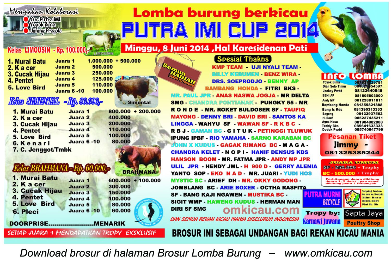 Brosur Lomba Burung Berkicau Putra IMI Cup, Pati, 8 Juni 2014