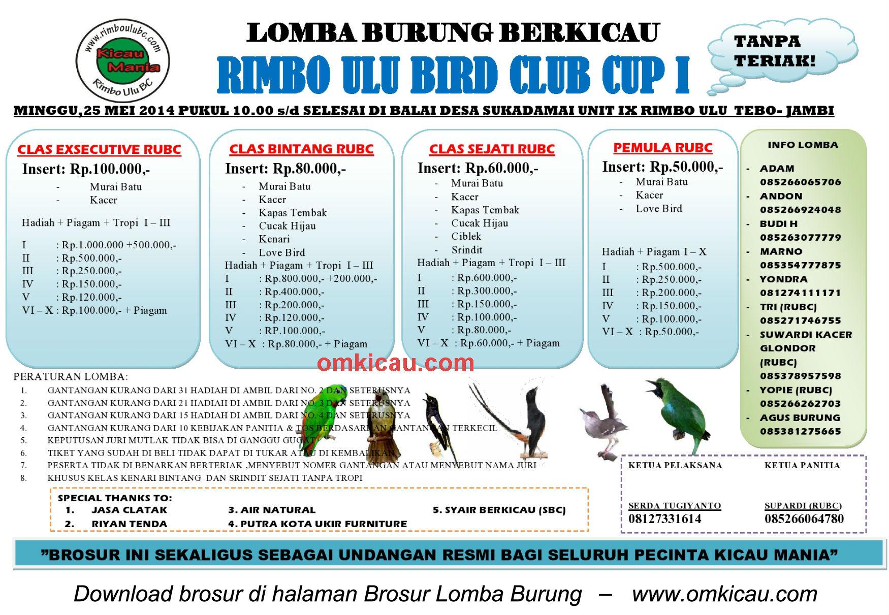 Brosur Lomba Burung Berkicau Rimbo Ulu BC Cup I - Jambi, 25 Mei 2014