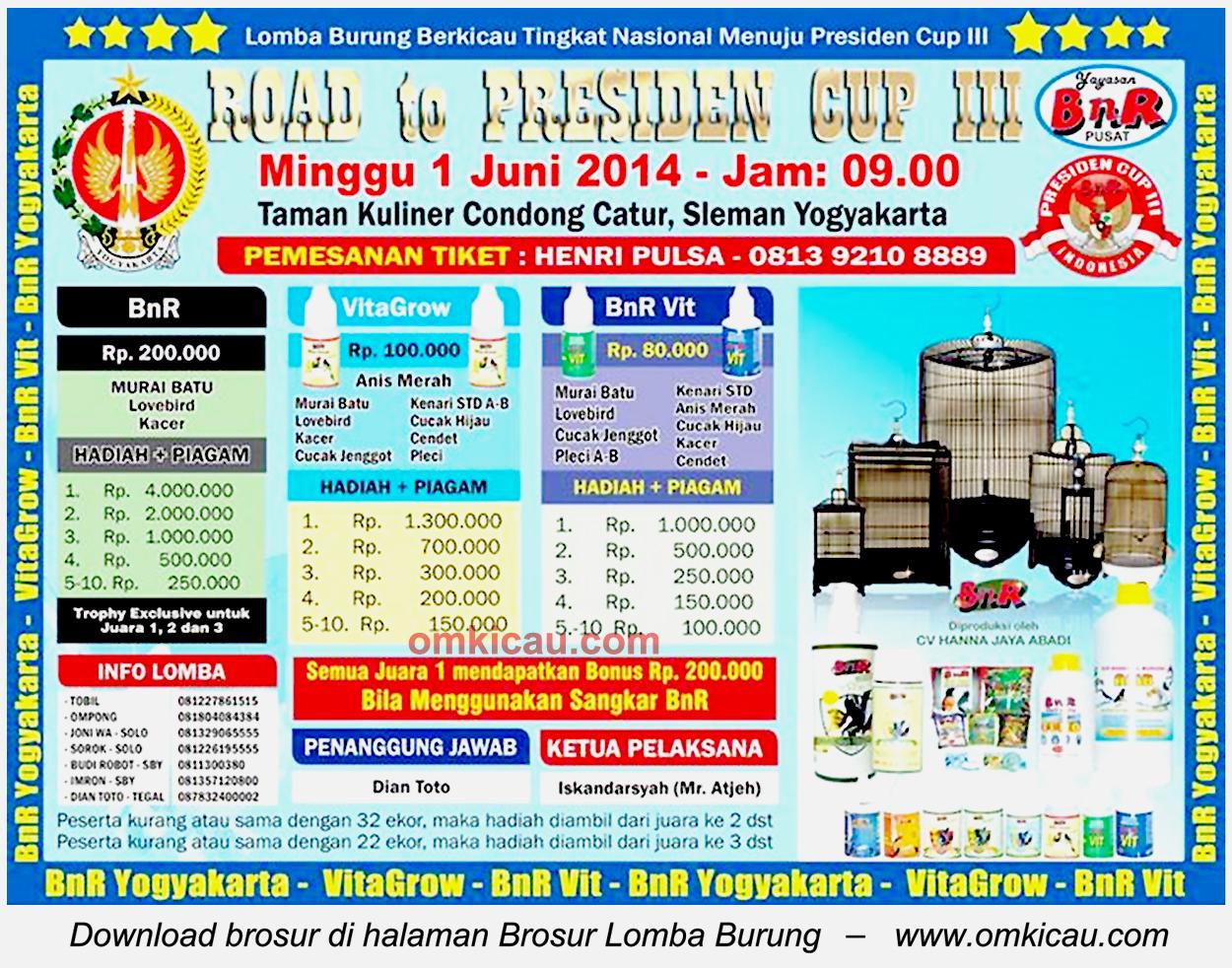 Brosur Lomba Burung Berkicau Road to Presiden Cup III, Jogja, 1 Juni 2014