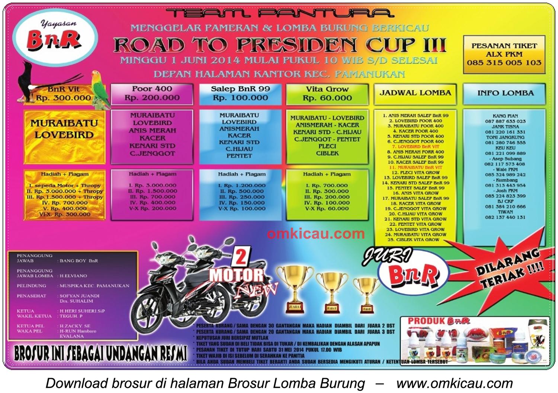 Brosur Lomba Burung Berkicau Road to Presiden Cup III, Pamanukan, 1 Juni 2014