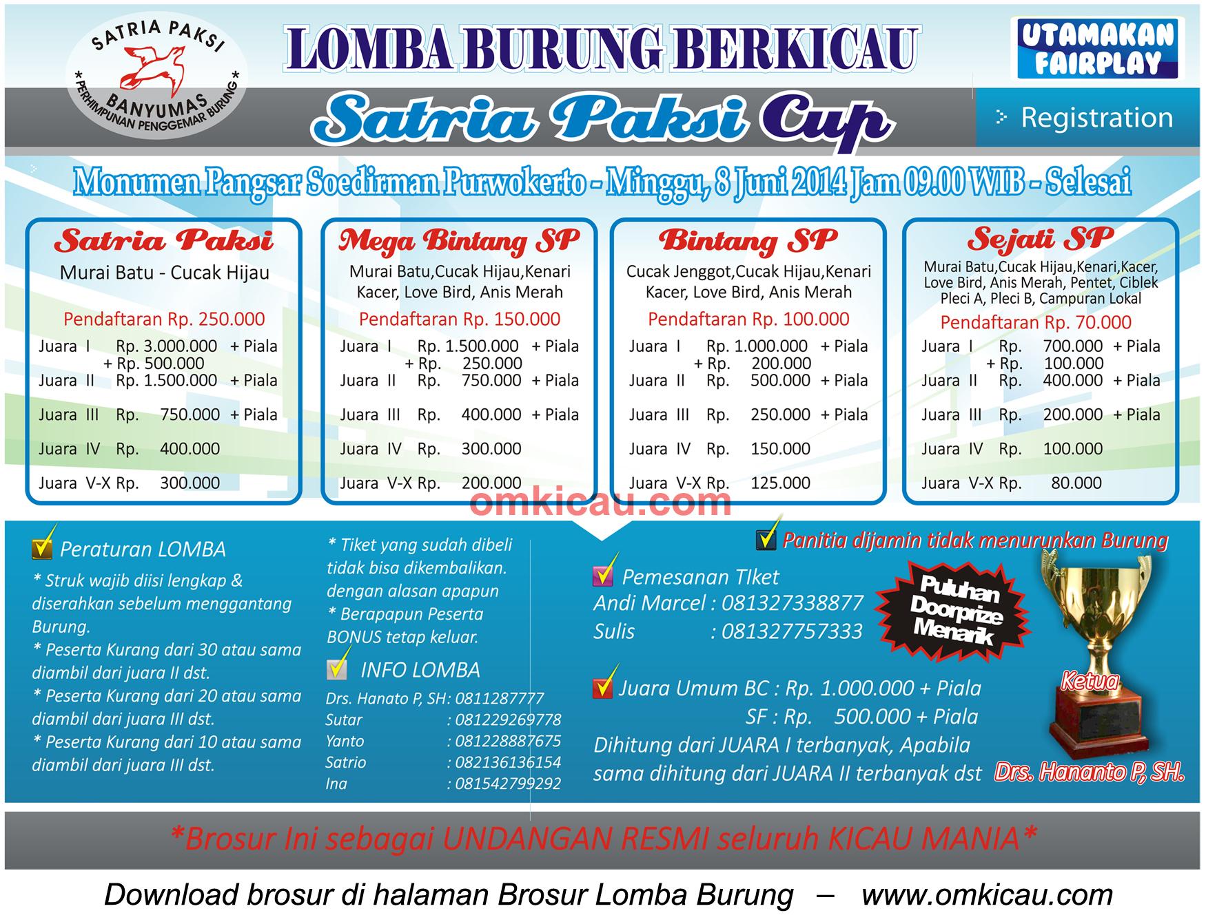 Brosur Lomba Burung Berkicau Satria Paksi Cup, Purwokerto, 8 Juni 2014