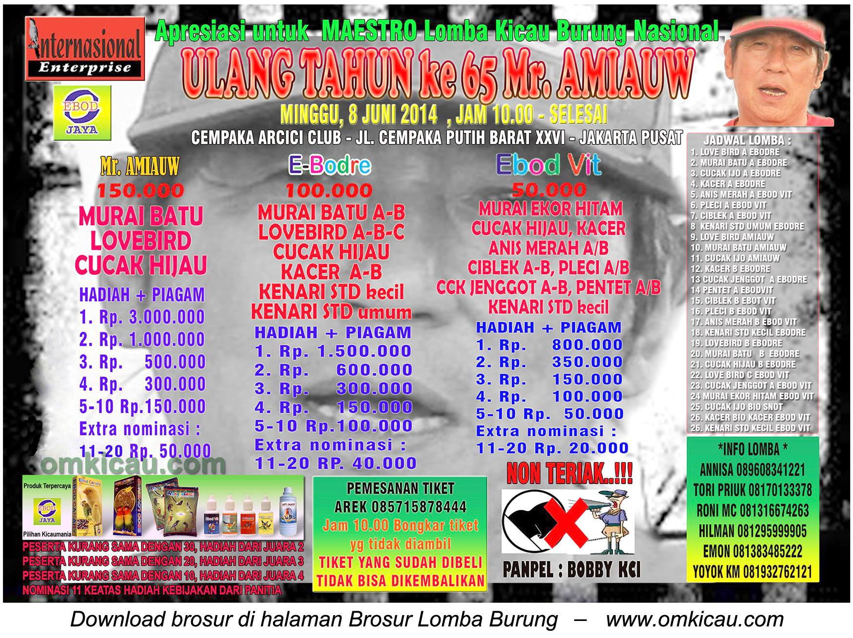 Brosur Lomba Burung Berkicau Ultah Ke-65 Mr Amiauw, Jakarta Pusat, 8 Juni 2014