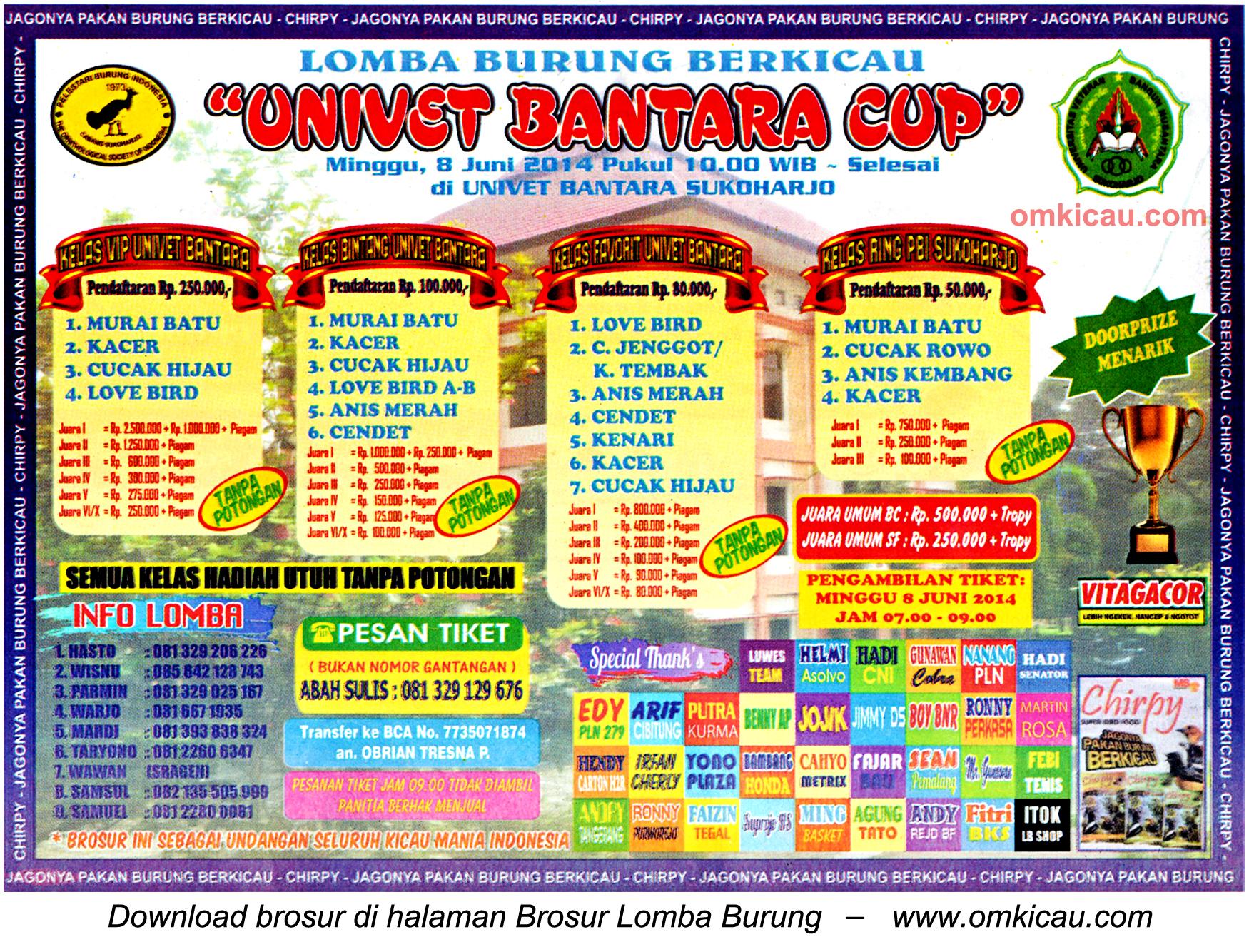Brosur Lomba Burung Berkicau Univet Bantara Cup, Sukoharjo, 8 Juni 2014