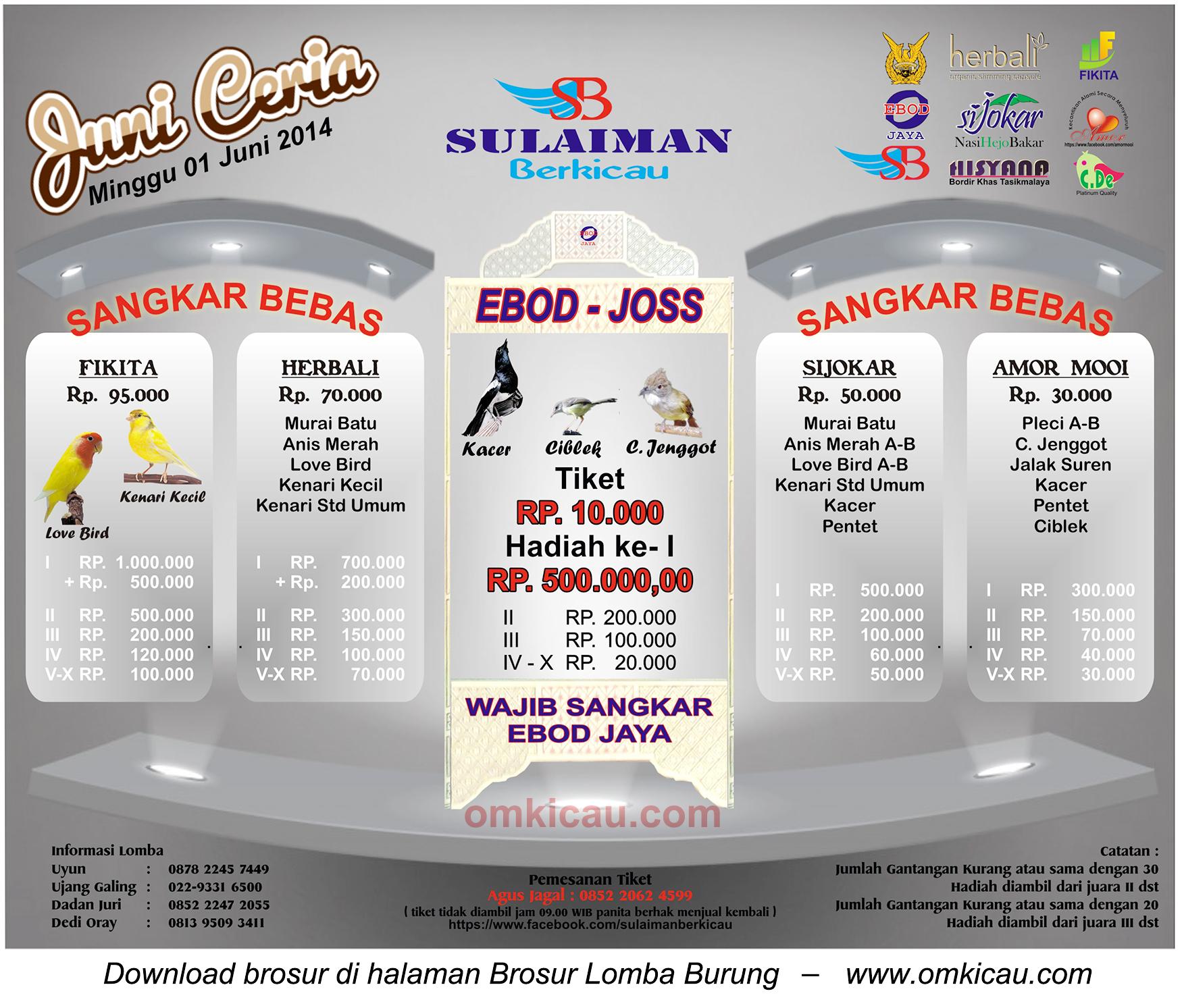 Brosur Lomba Burung Juni Ceria - Sulaiman Berkicau, Bandung, 1 Juni 2014