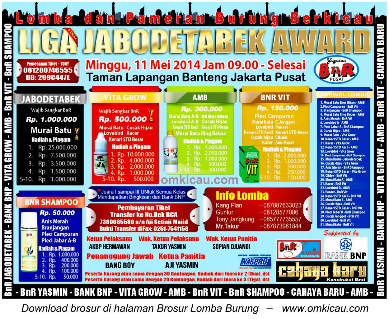 Brosur Lomba Burung Liga Jabodebatek Award, Jakarta Pusat, 11 Mei 2014