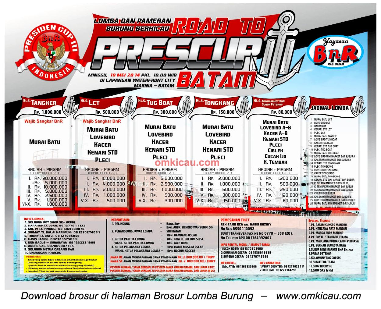 Brosur Lomba Burung Road to Presiden Cup III, Batam, 18 Mei 2014