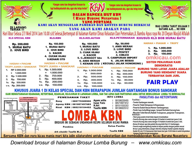 Brosur Lomba Kicau Burung Nusantara (KBN), Jakarta, 27 Mei 2014