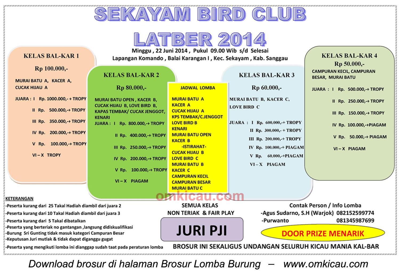 Brosur Latber Burung Berkicau Sekacam BC, Kab Sanggau, 22 Juni 2014