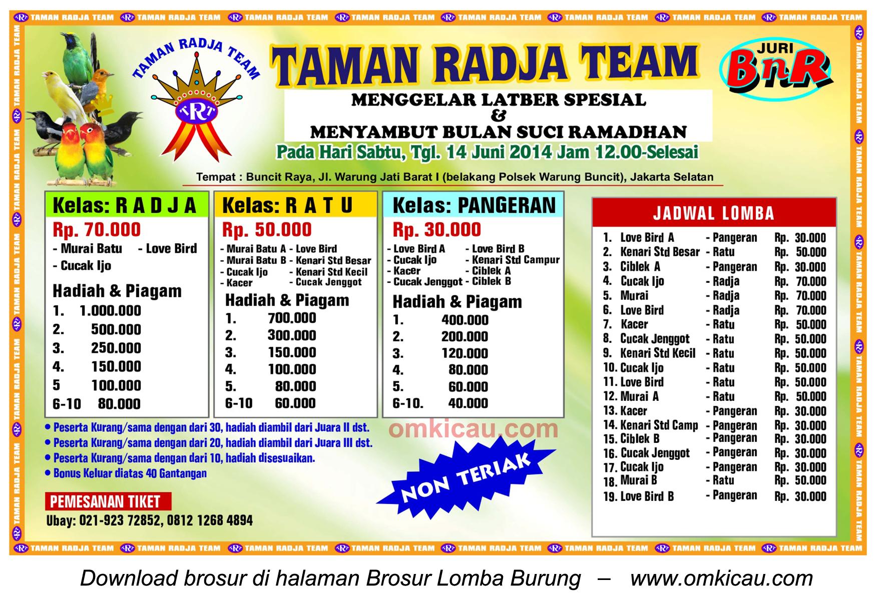 Brosur Latber Spesial Taman Radja Team, Jakarta Selatan, 14 Juni 2014